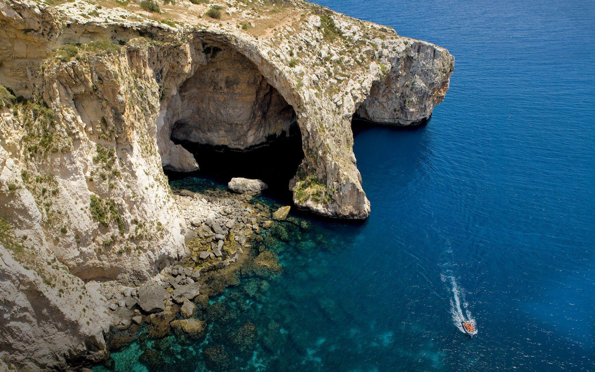 Sea Cave, Malta Wallpapers Images Photos Pictures Backgrounds