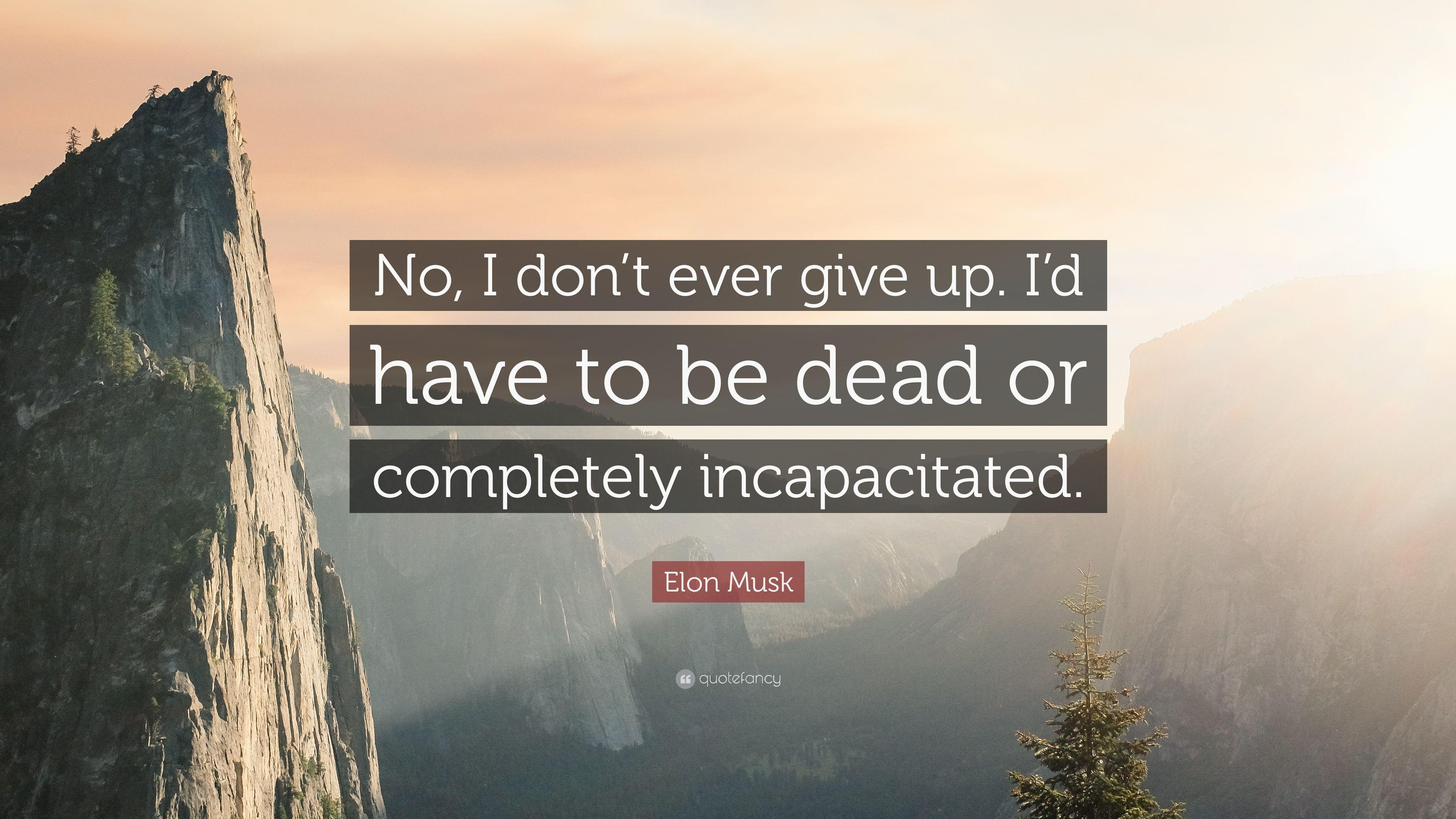 "Elon Musk Quote: ""No, I don't ever give up. I'd have to be dead or"