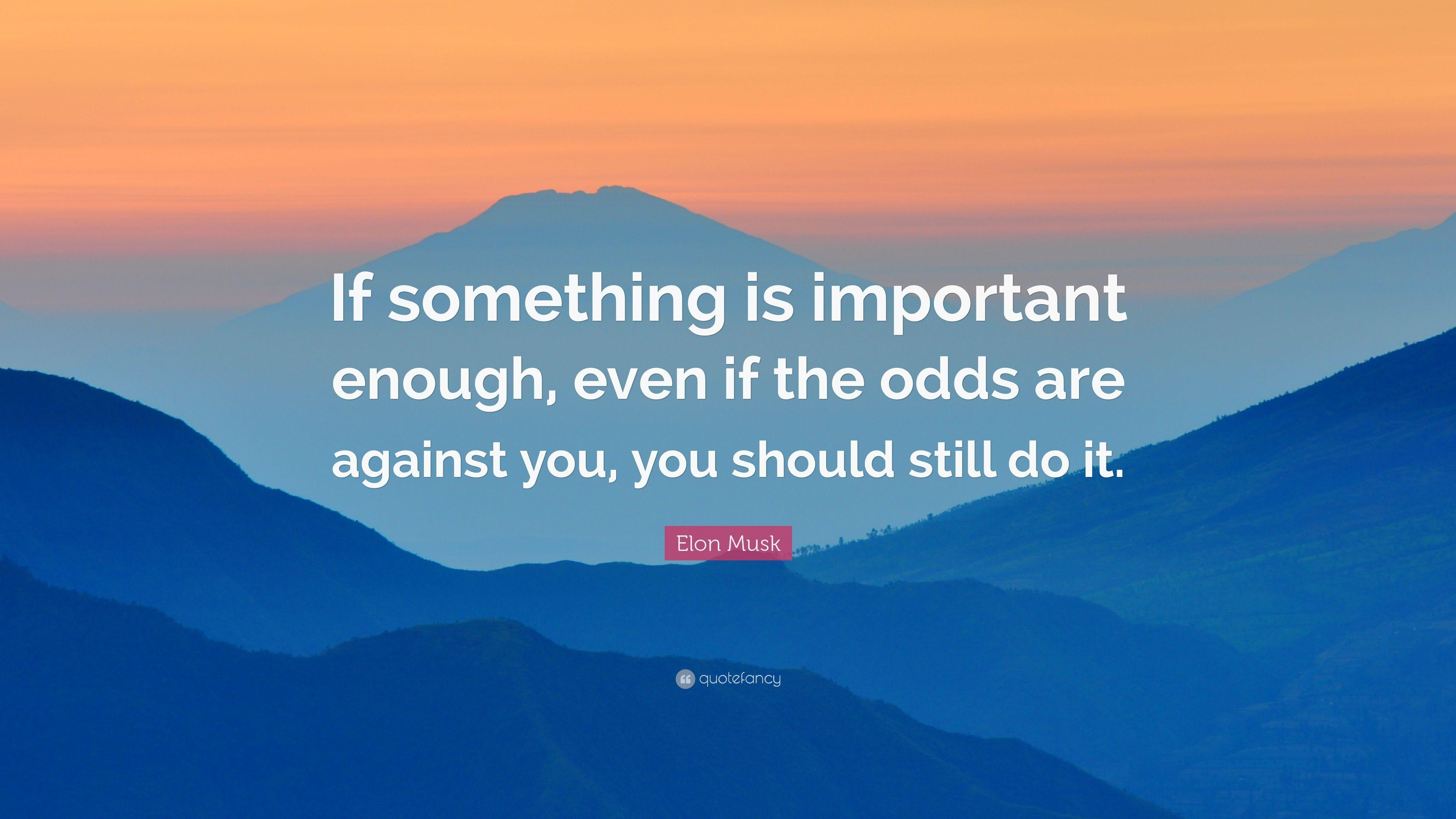 "Elon Musk Quote: ""If something is important enough, even if the"