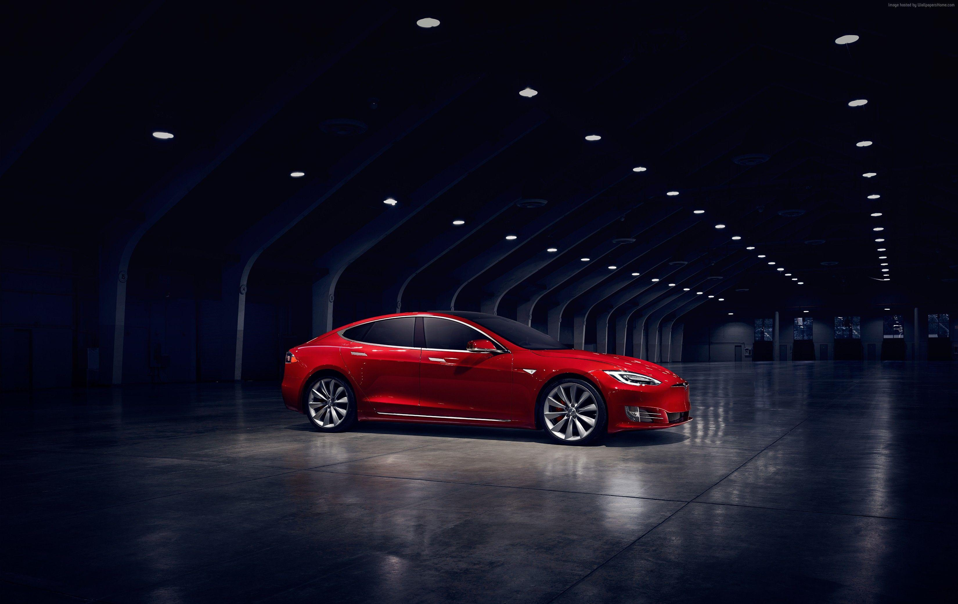 Wallpapers Tesla Model S P90D, electric cars, Elon Musk, red, Cars