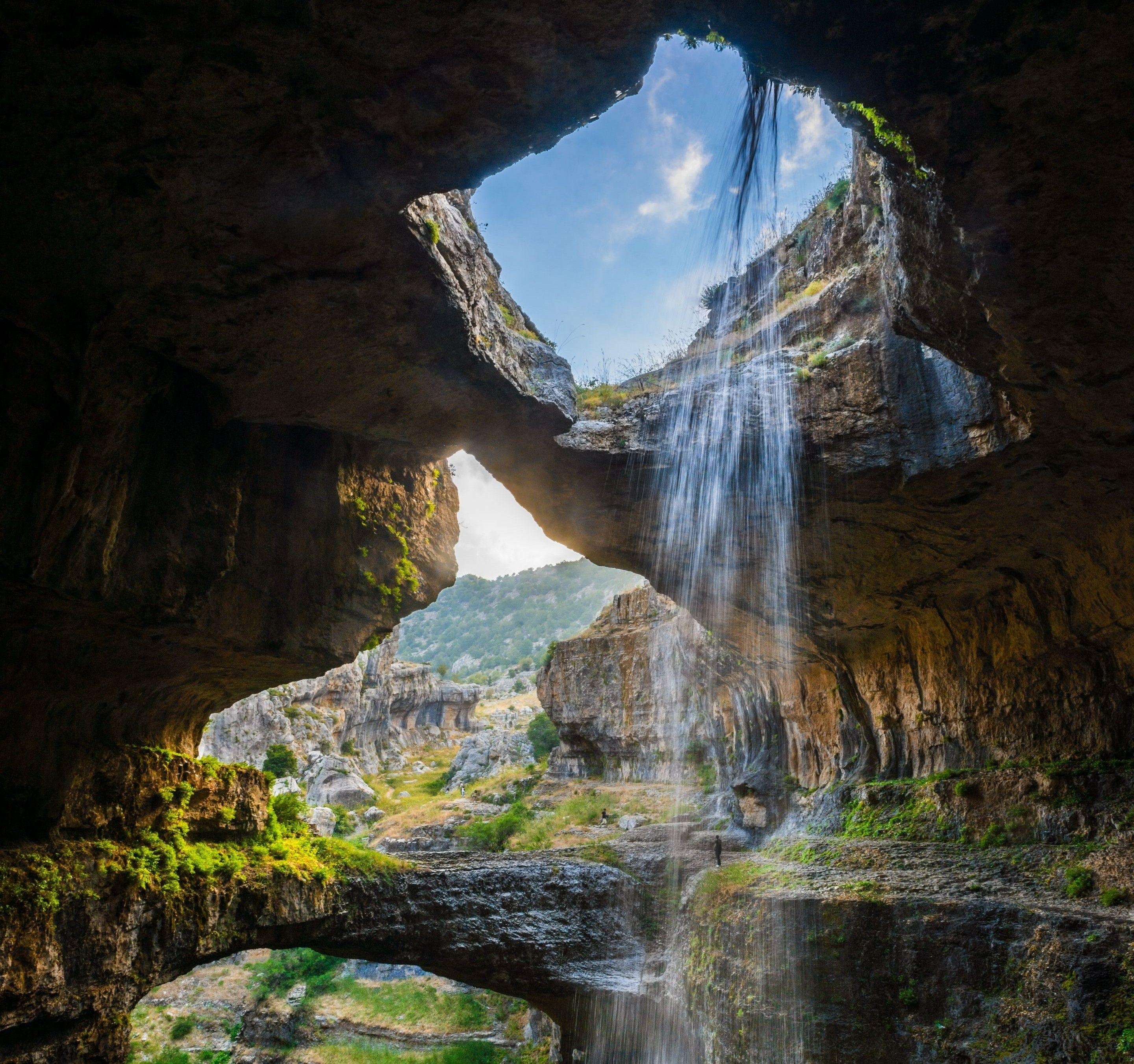 cave, Waterfall, Gorge, Lebanon, Erosion, Nature, Landscape