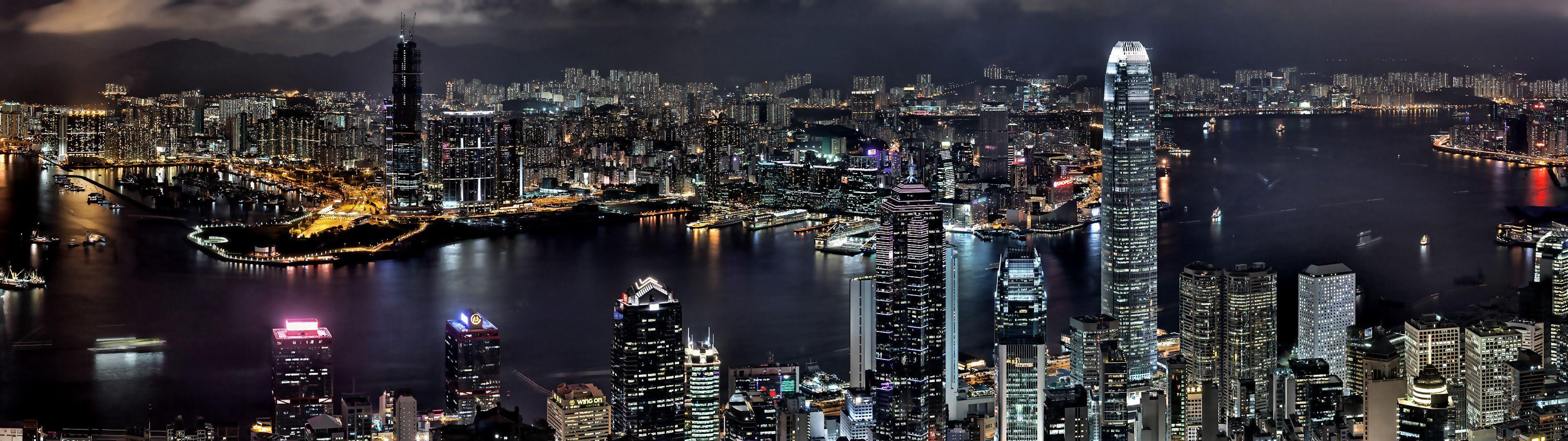 Cityscapes night buildings Hong Kong wallpapers