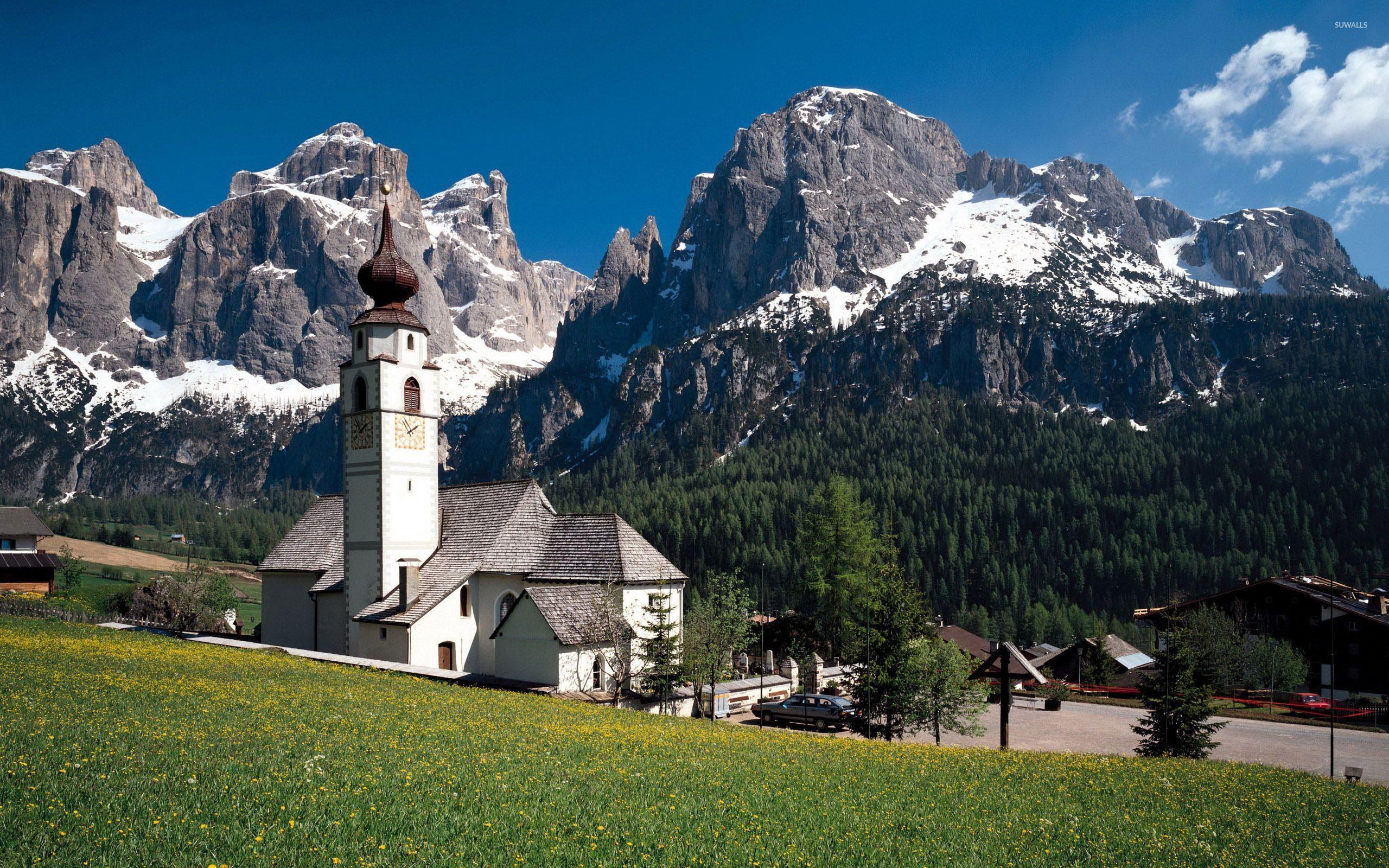 White church in the rocky mountains wallpapers