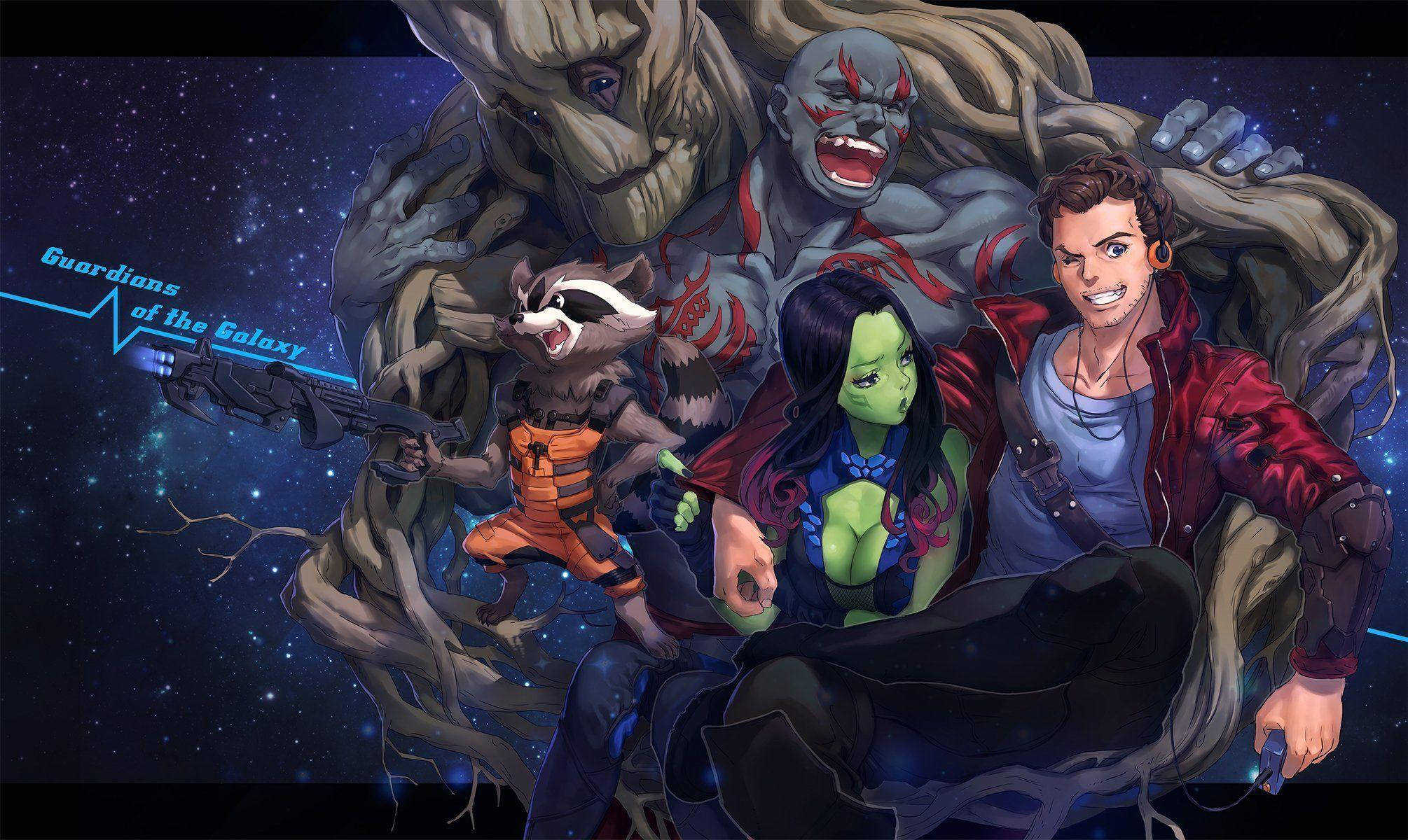 art mhk girl gamora man drax the destroyer groot peter quill