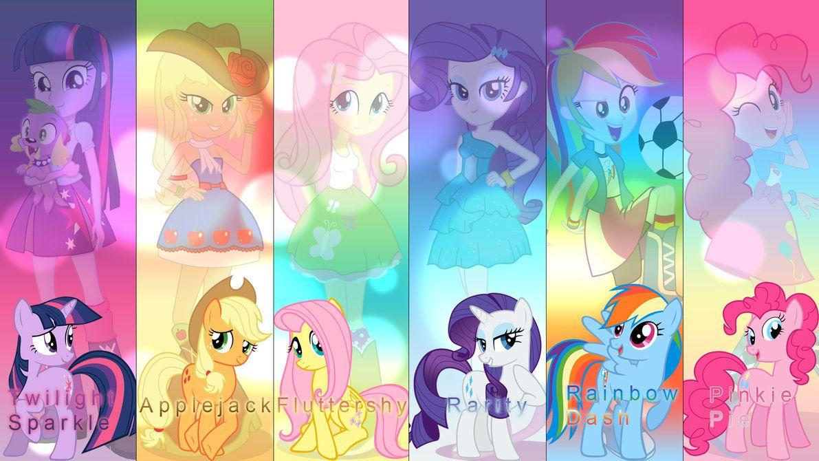 Mane six Equestria Girls wallpapers by IIThunderboltII