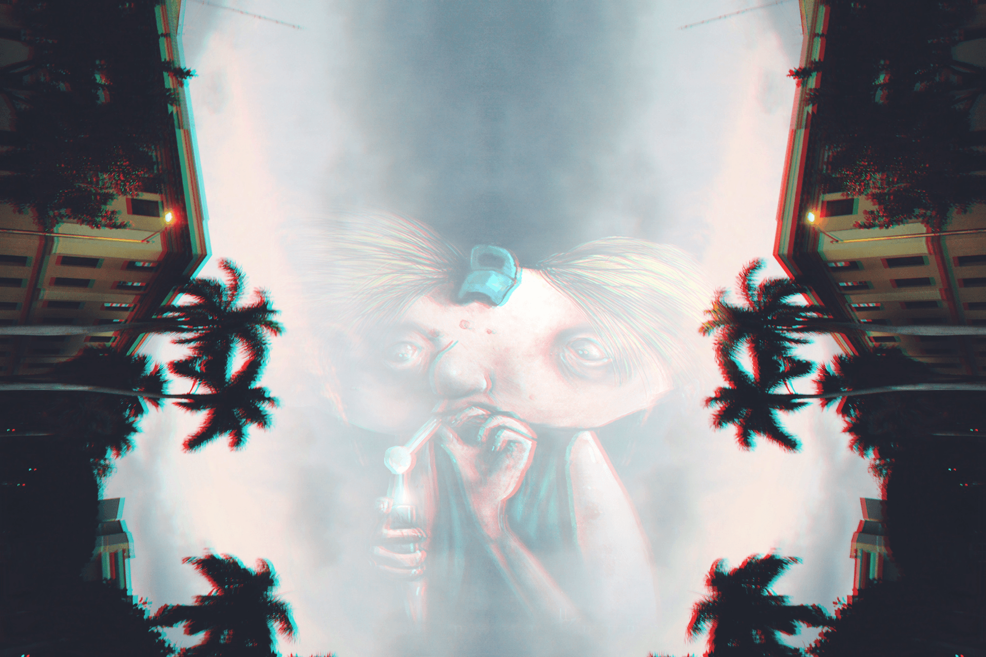 Hey Arnold!, Sky, Palm trees, Anaglyph 3D, Drugs Wallpapers HD ...