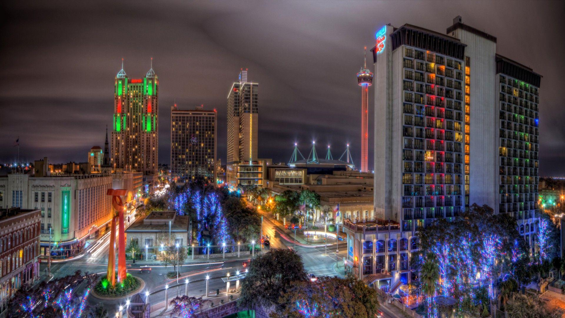 Other: Colorful Lights San Antonio Night Texas Hotel Streets ...