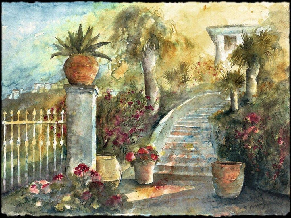 Other: Sudan Garden Flowers Cityscape Scenery Painting Art Stairs