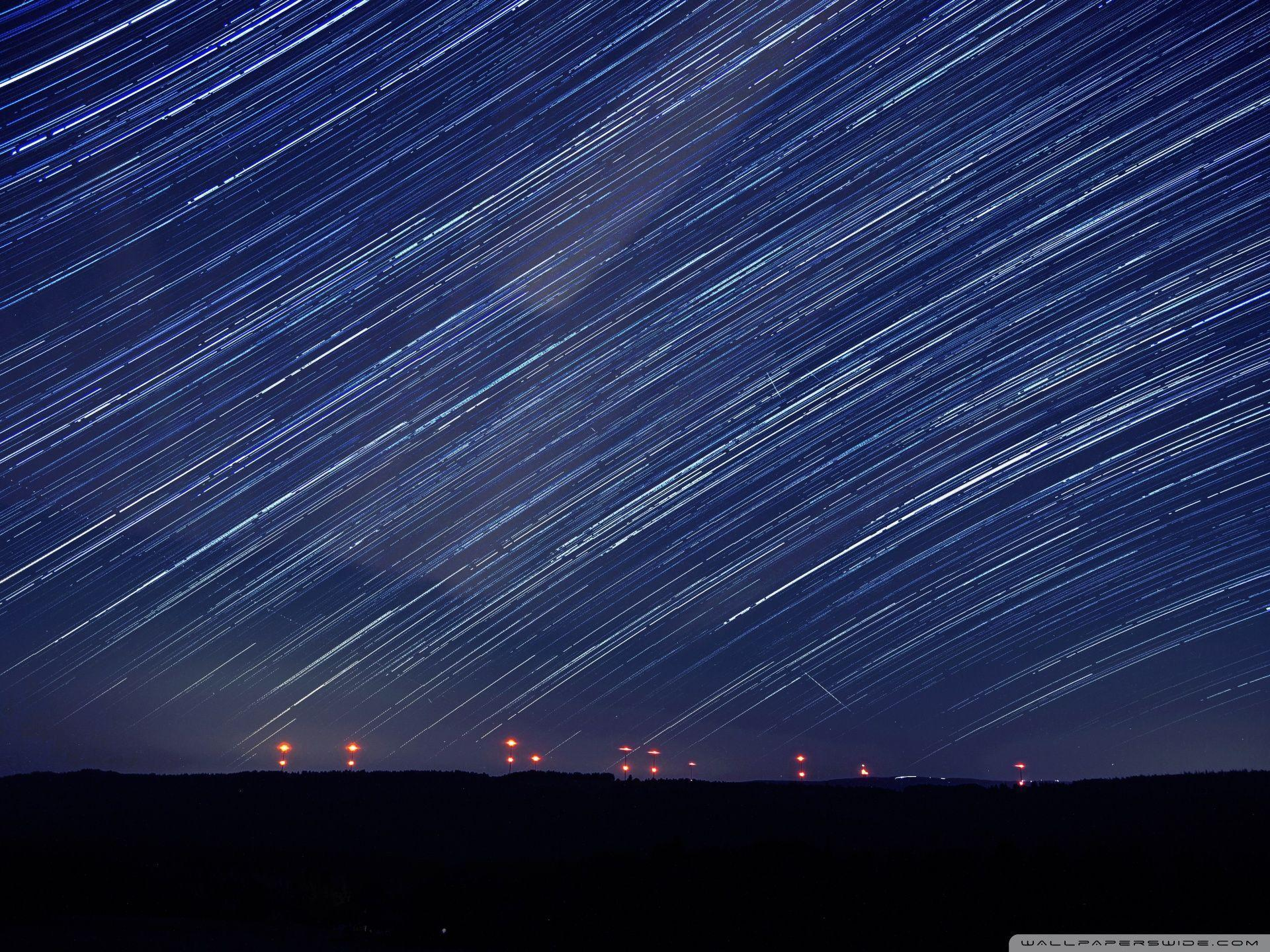 Perseids over a Wind Farm HD desktop wallpaper : Widescreen : High ...