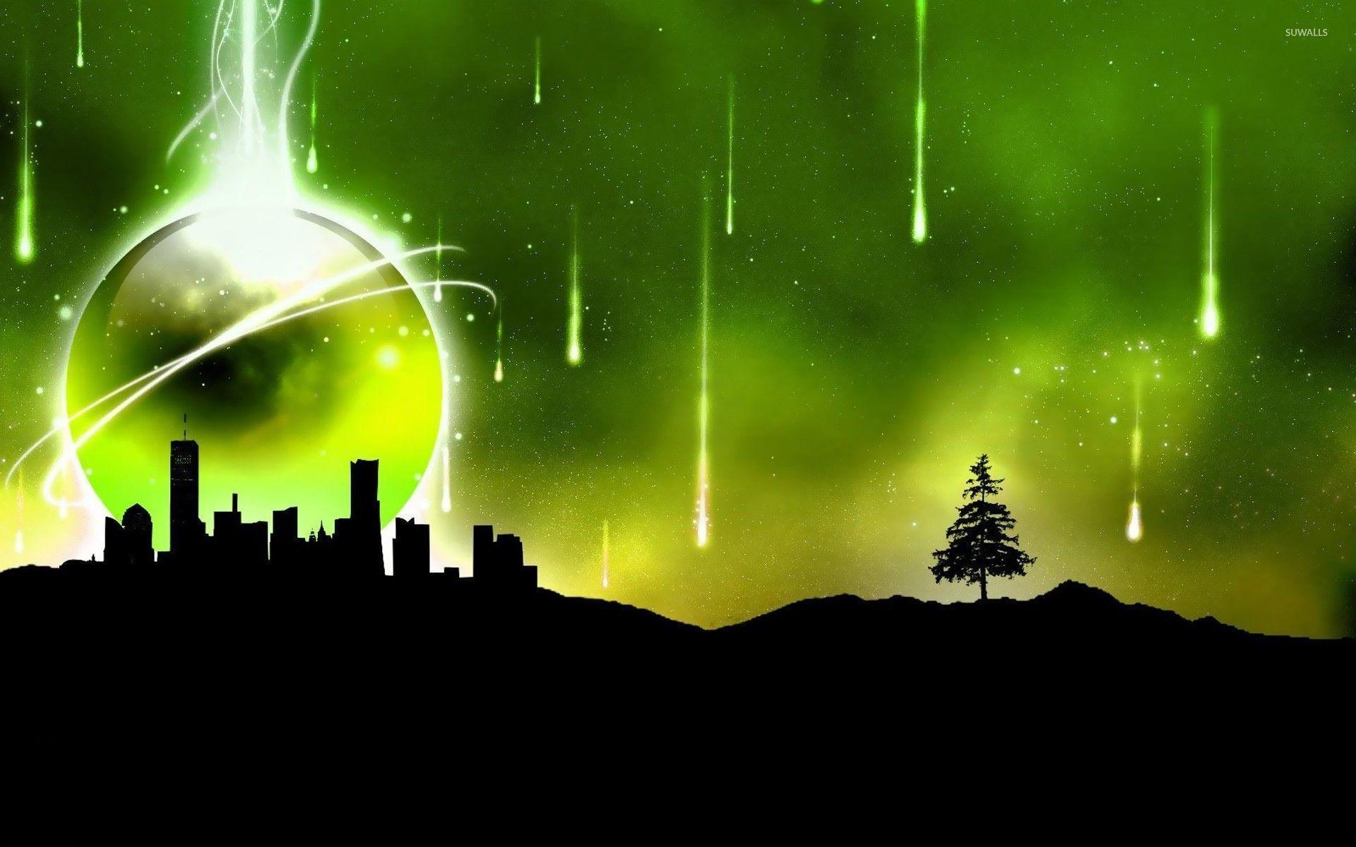 Meteor shower over the city wallpaper - Digital Art wallpapers ...