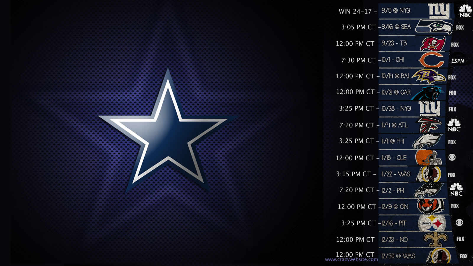 Dallas Cowboys Schedule Wallpaper