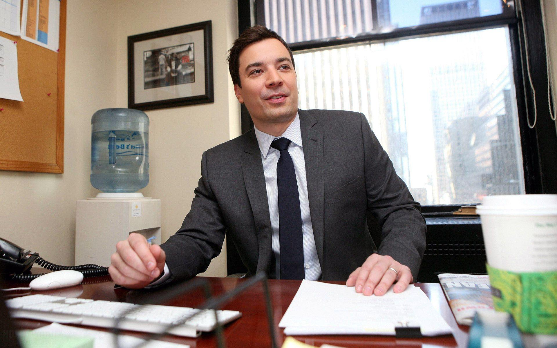 Jimmy Fallon Working at his Office