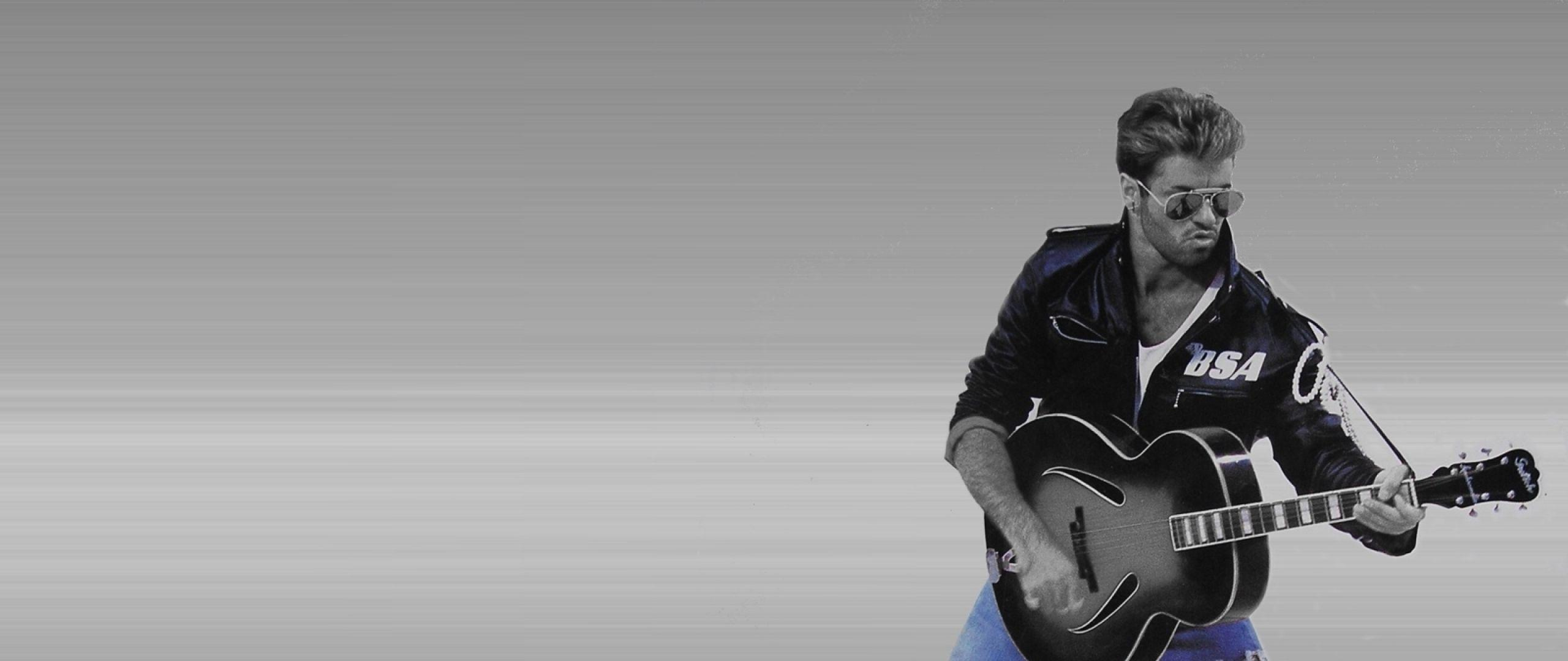 Download Wallpapers 2560x1080 George michael, Glasses, Guitar