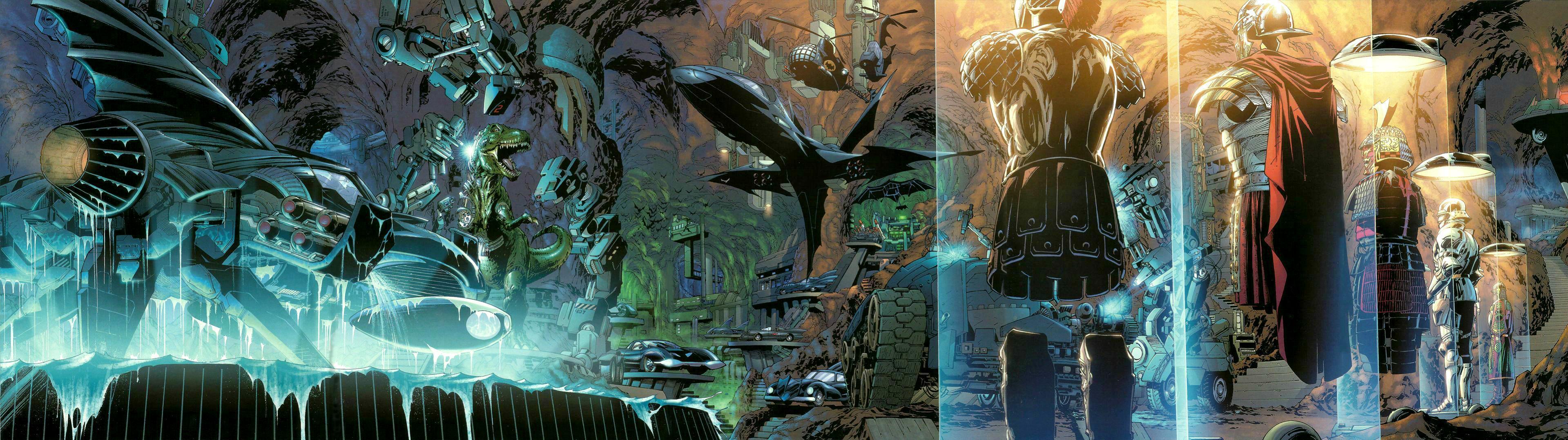 A Dual screen wallpaper of the Batcave : batman