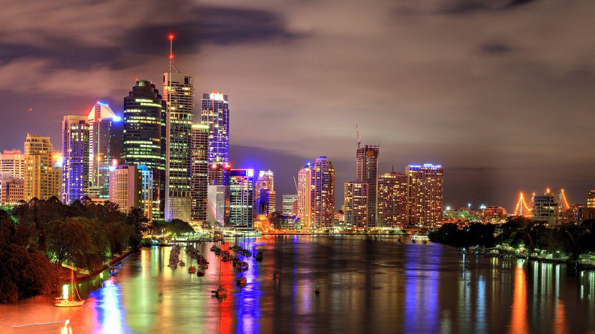 Brisbane by night Wallpaper Australia World (36 Wallpapers ...