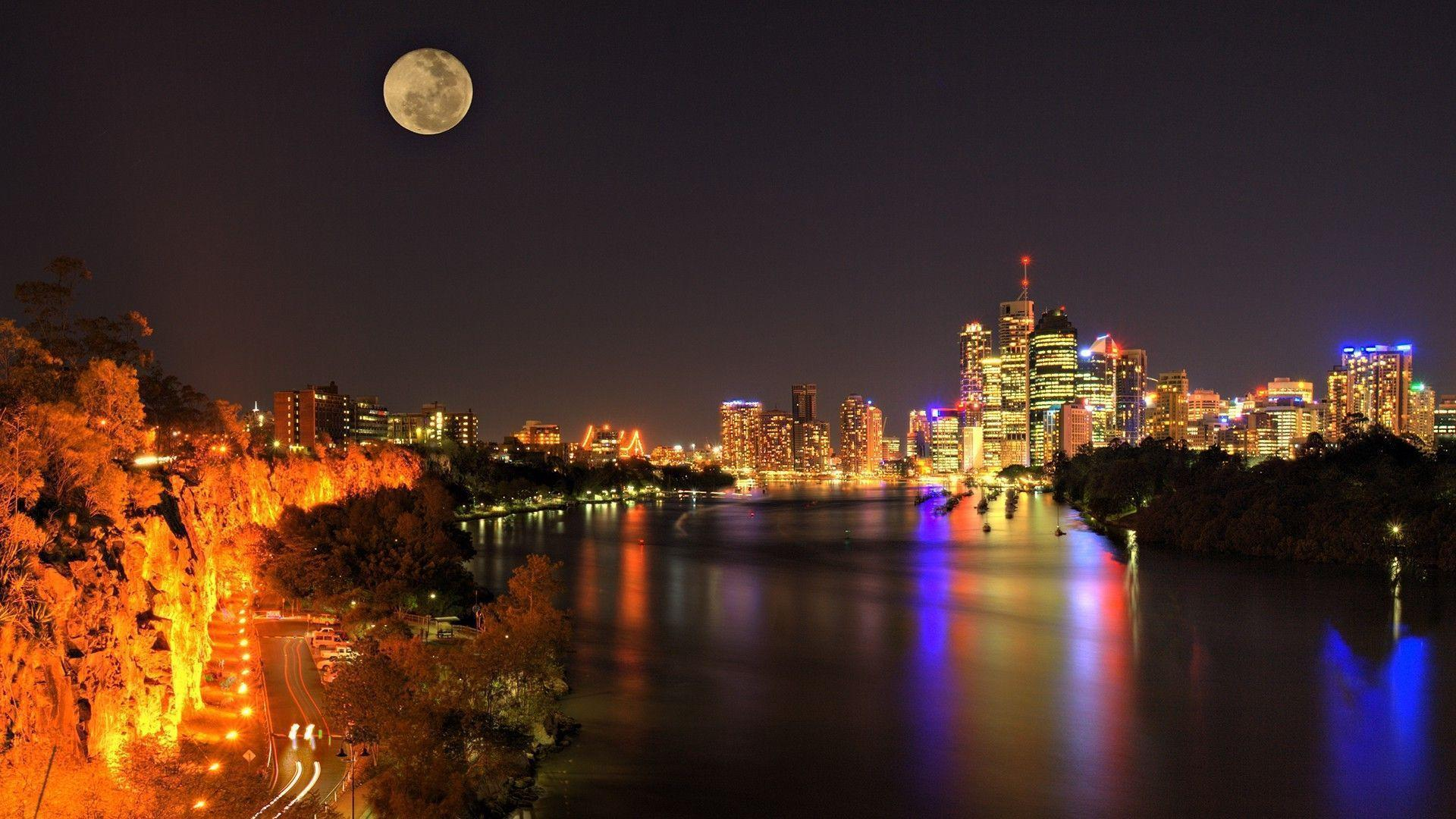 cityscape, Lights, Building, Moon, River, Australia, Brisbane ...
