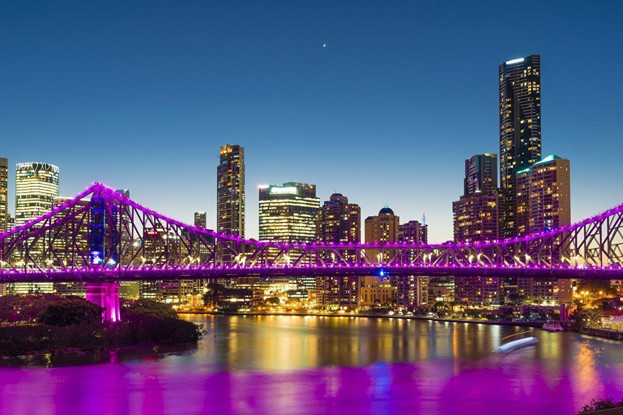 Wallpapers Brisbane Australia Bridges Night Rivers Fairy lights