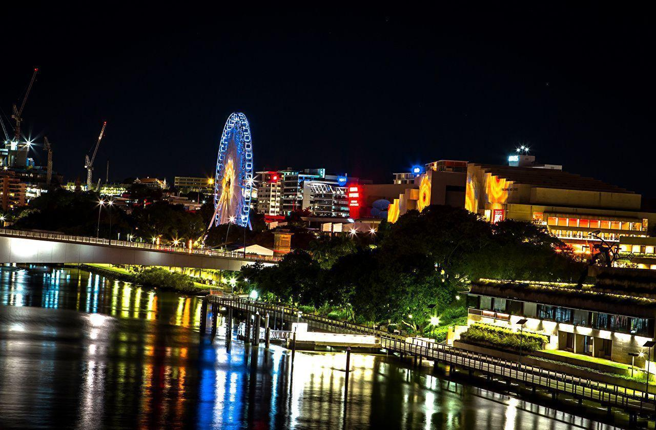 Wallpapers Brisbane Australia Bridges Ferris wheel Rivers night time