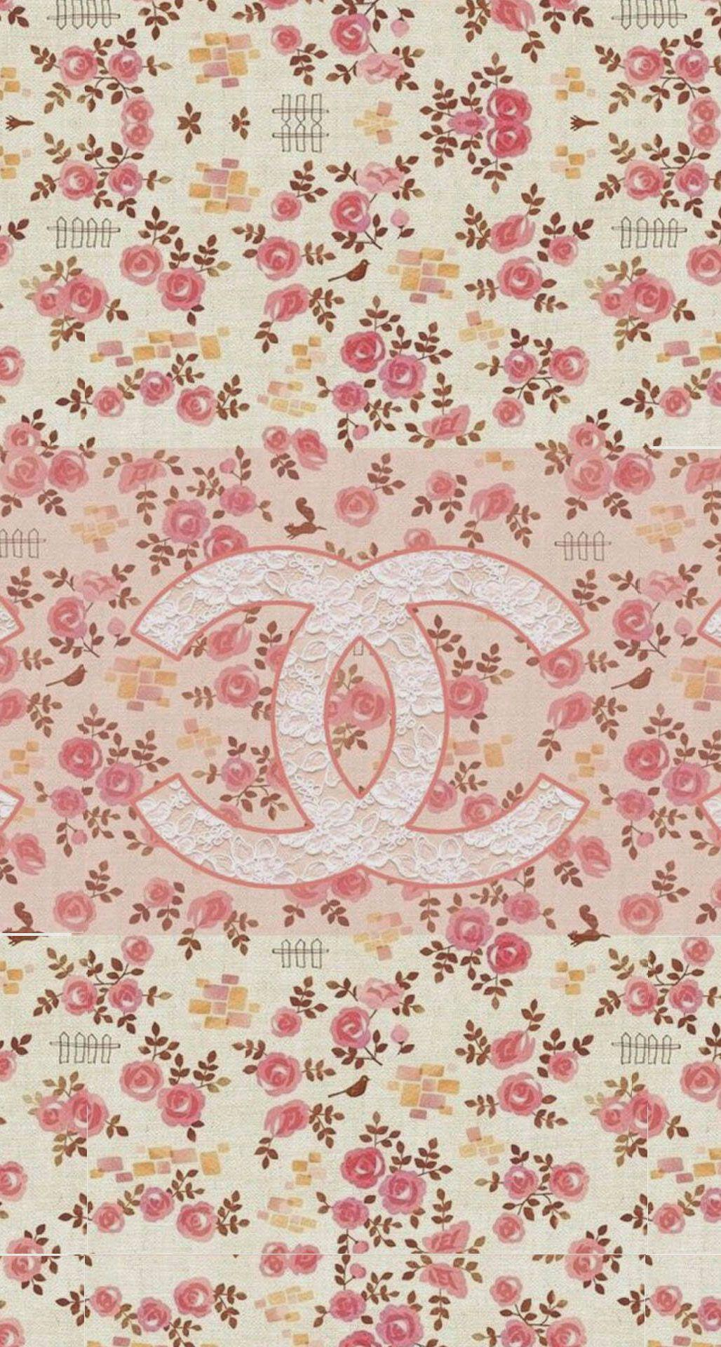 Coco Chanel Flowers Pattern Logo iPhone 6 Plus HD Wallpaper.jpg