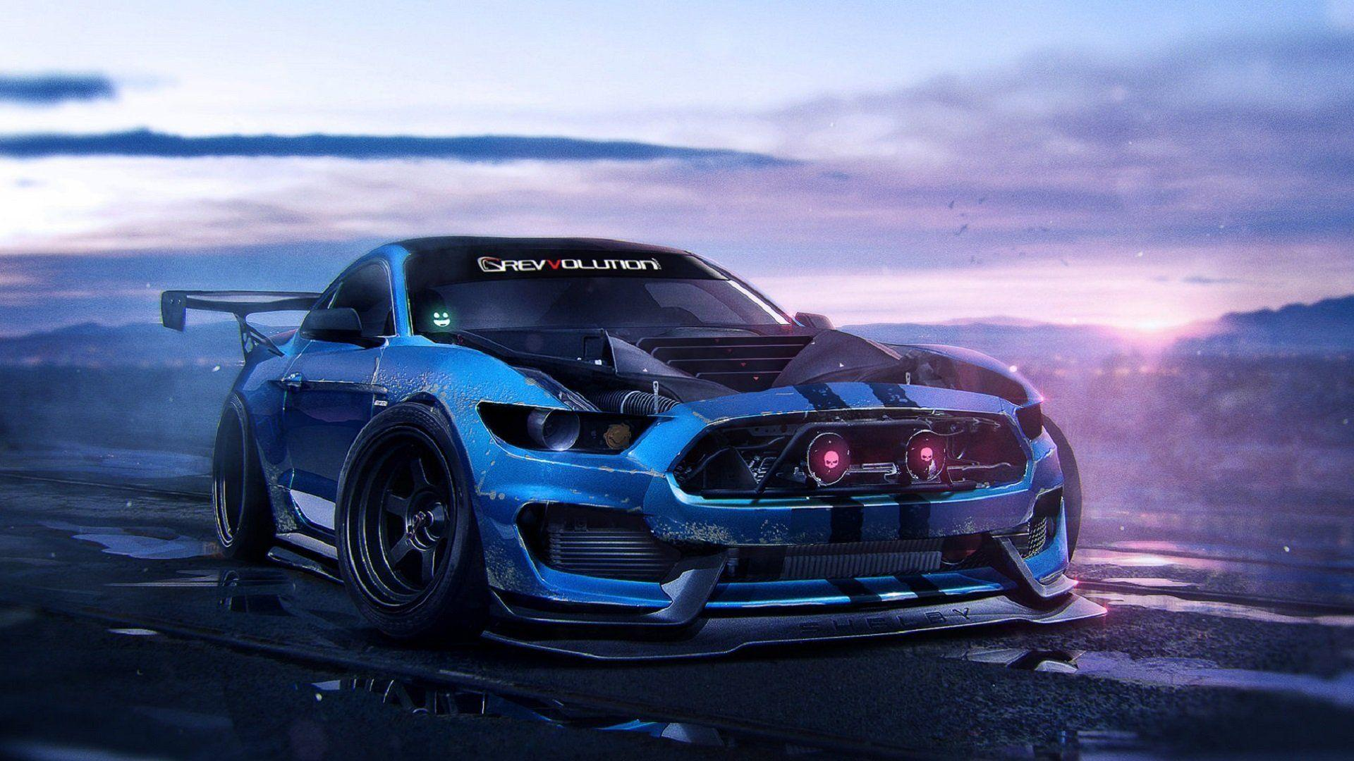 ford mustant shelby gt350 2015 blue muscle car art by khyzyl