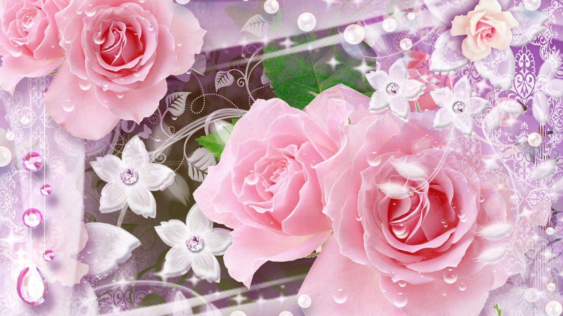 Glitter Flower Wallpapers Wallpaper Cave