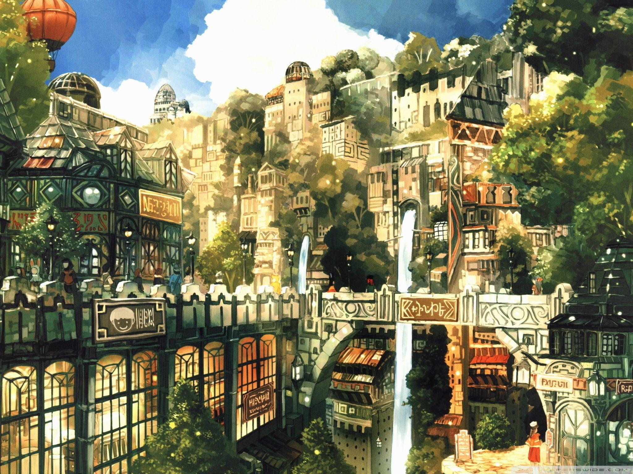 Anime City Painting HD desktop wallpapers : Widescreen : Fullscreen