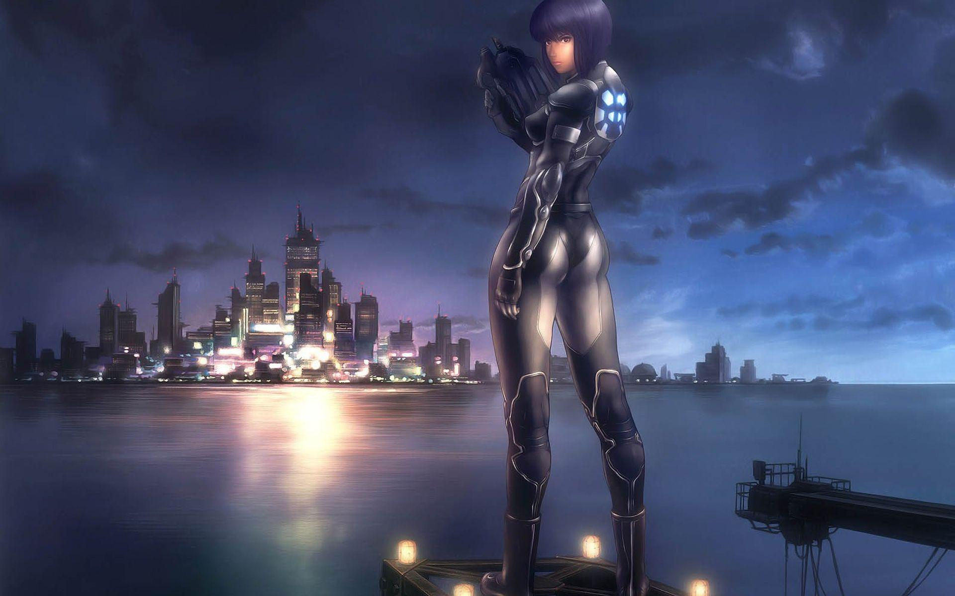 Wallpapers Anime, Girl, Costume, Character, Weapons, Night, City