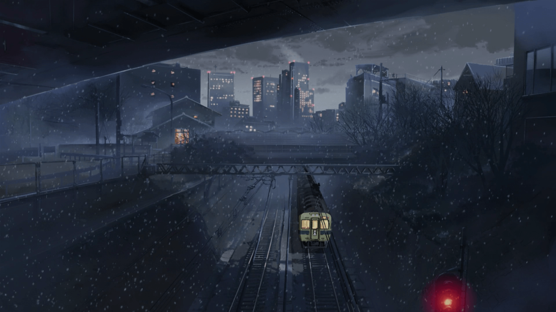 train, Night, City, Anime, 5 Centimeters Per Second Wallpapers HD