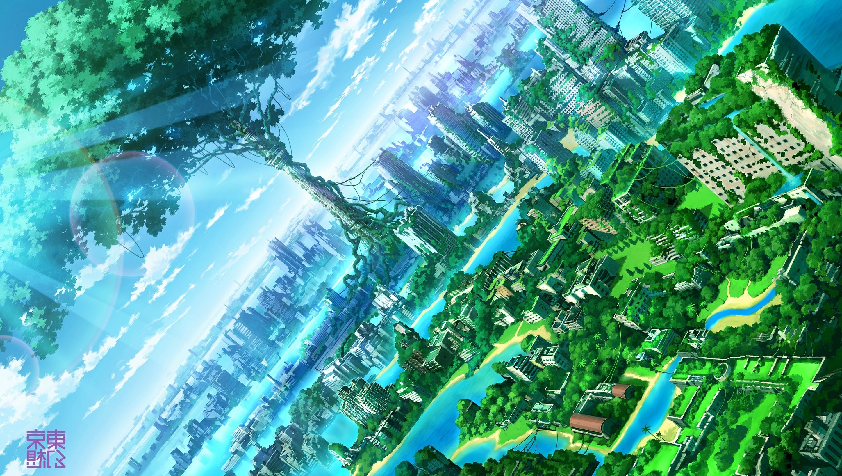 Anime city backgrounds art