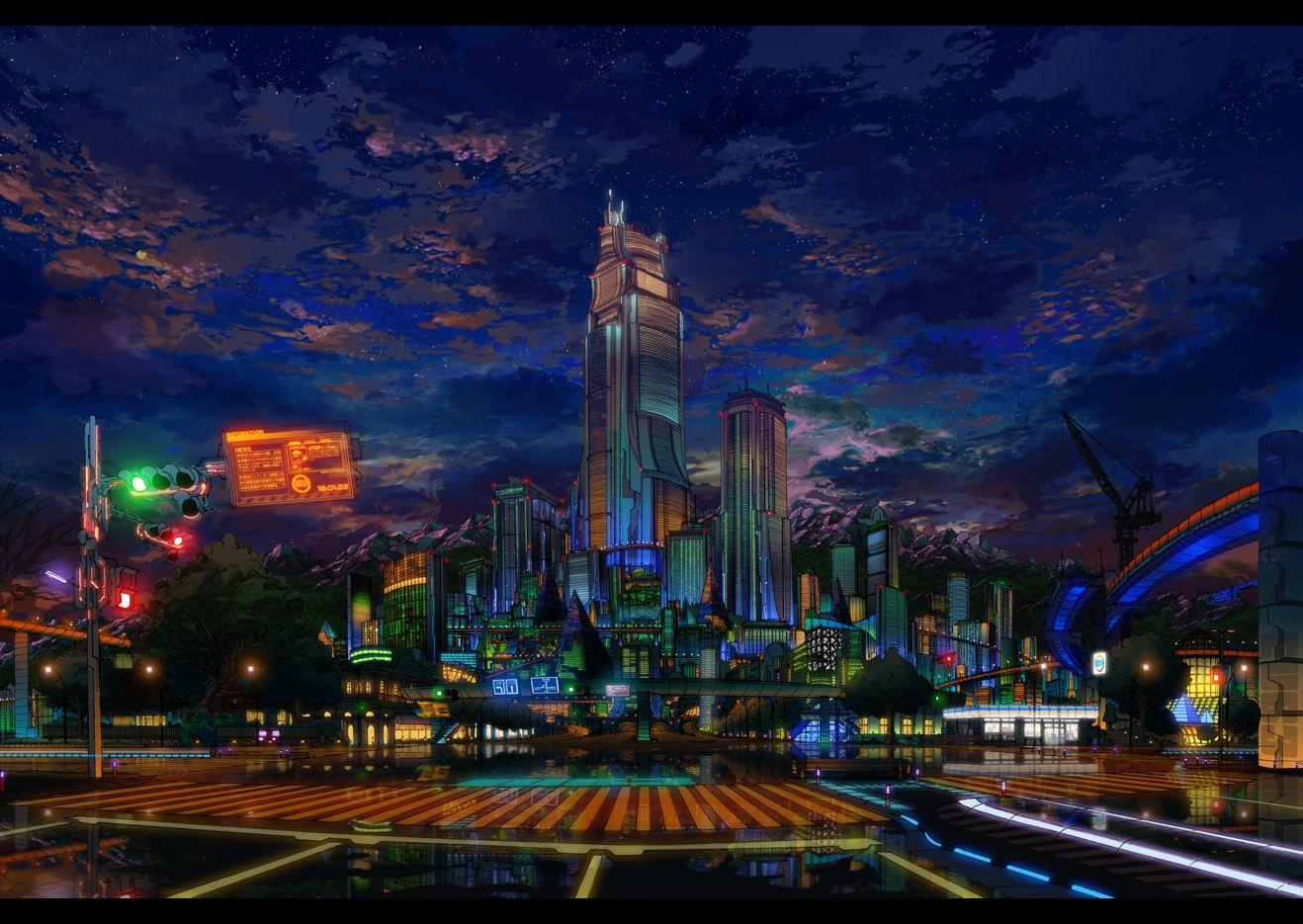 Anime city wallpapers wallpaper cave - Anime scenery wallpaper laptop ...