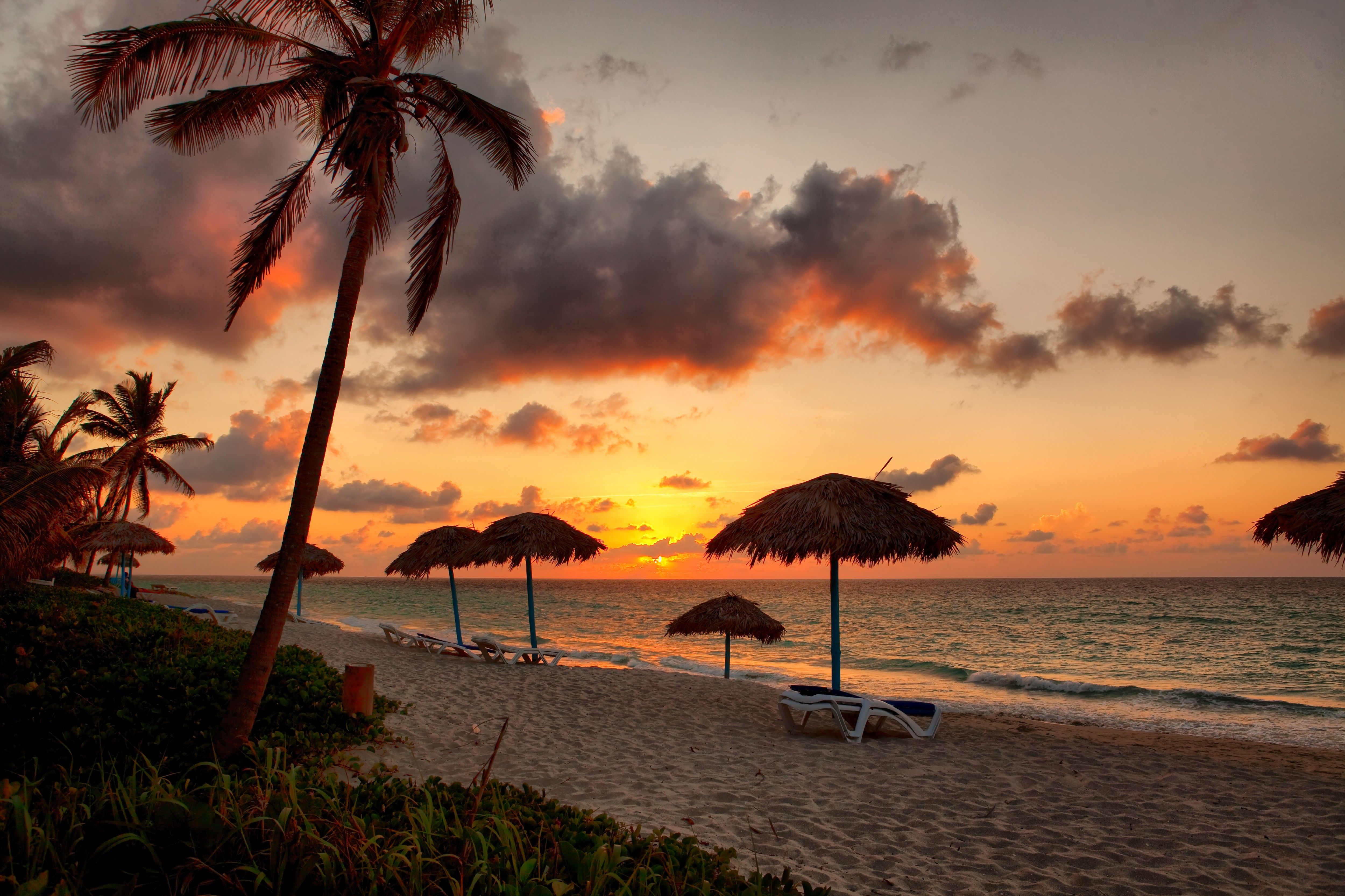 Wallpapers varadero, beach, sunset, cuba, clouds, vacations, palm ...