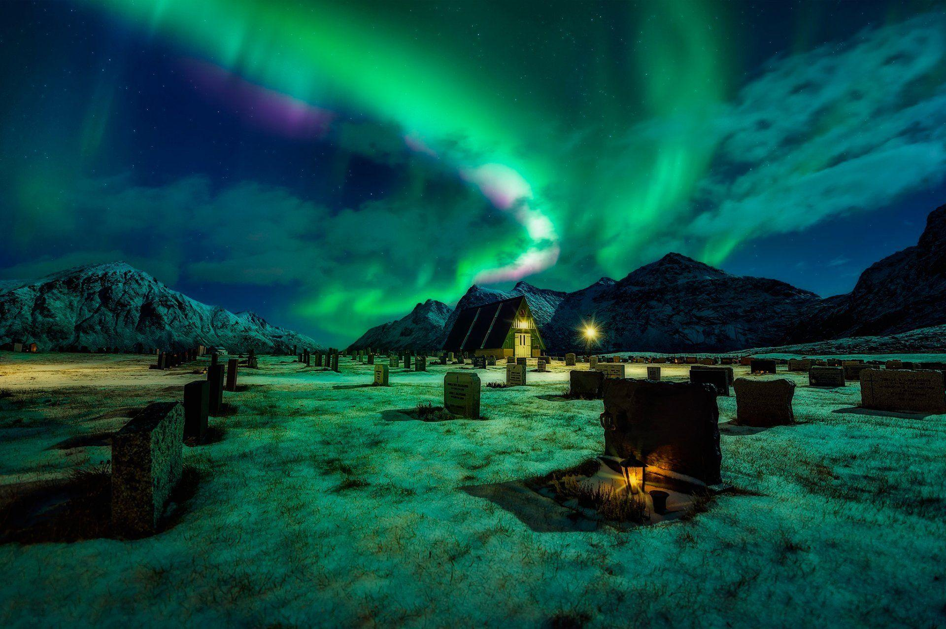 cemetery northern lights mountain night light HD wallpapers