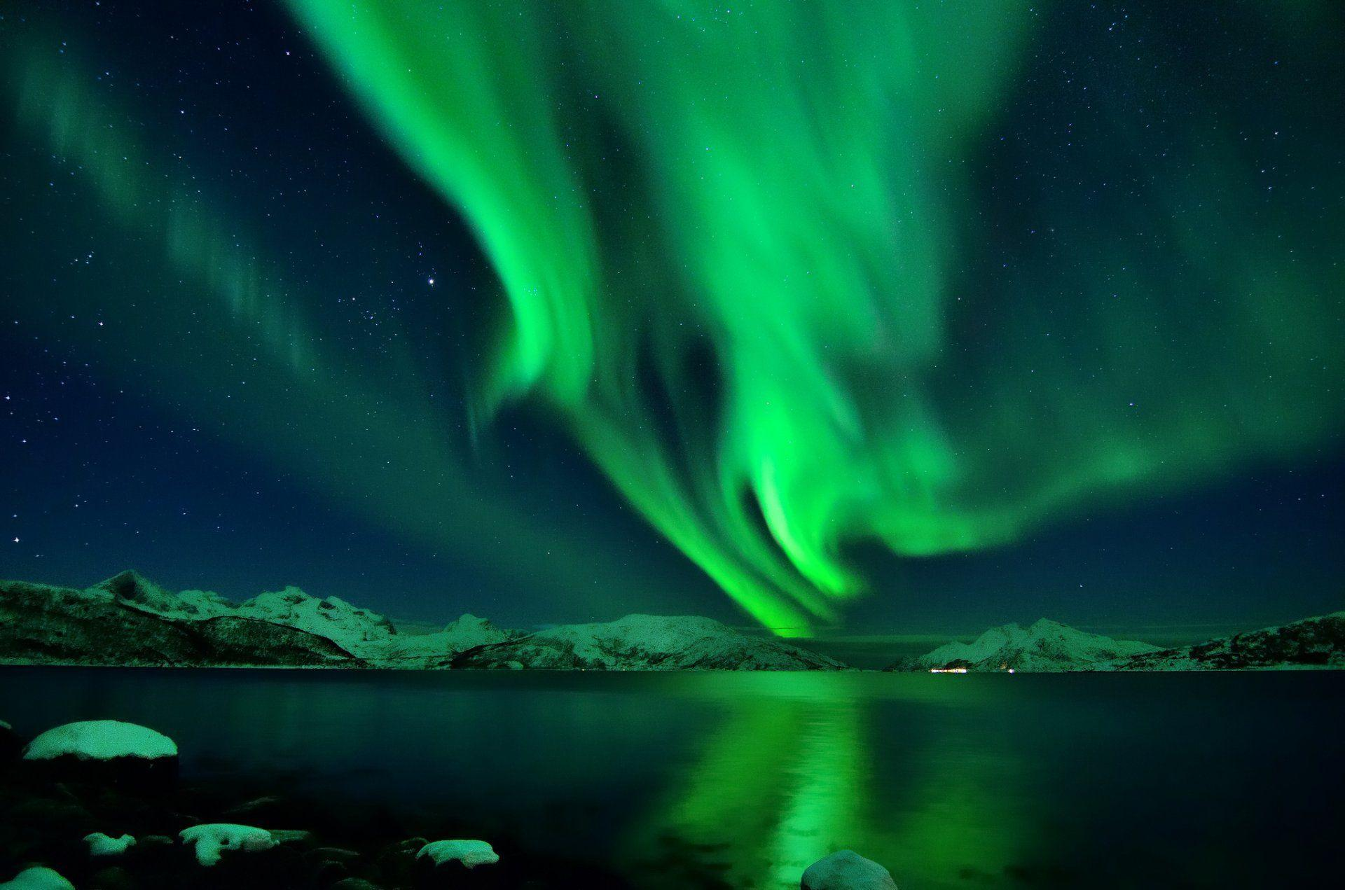 iceland snow night star northern lights HD wallpapers