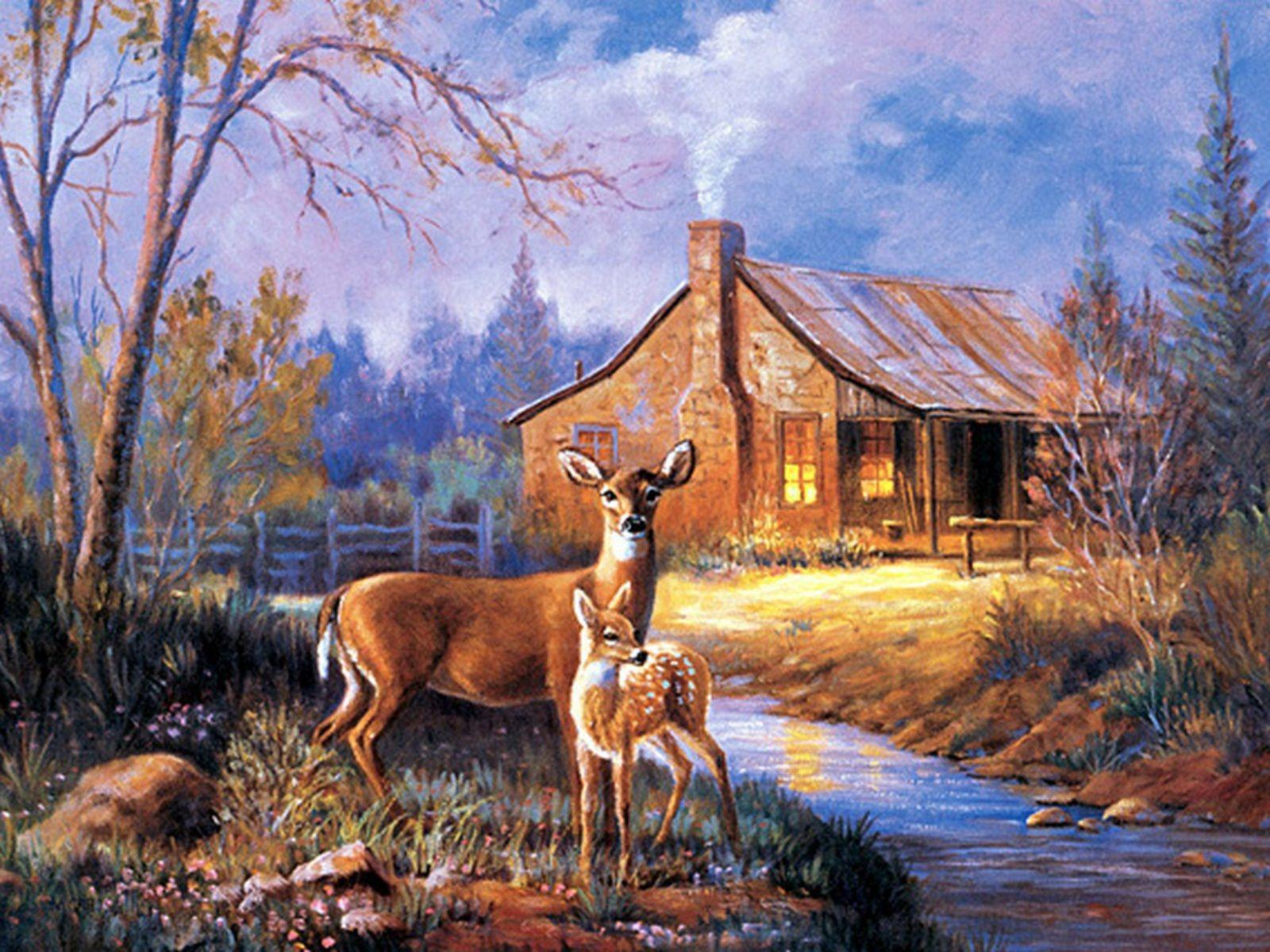 deer scene images | buck and doe mural can be decorated to any of your rooms