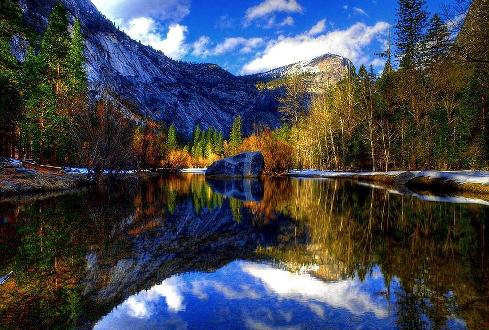 Yosemite Trees Mountain Park Lake National Miror Reflection Iphone