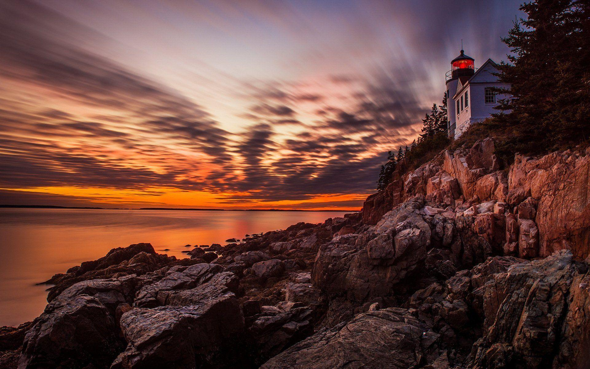 acadia national park sunset lighthouse HD wallpapers