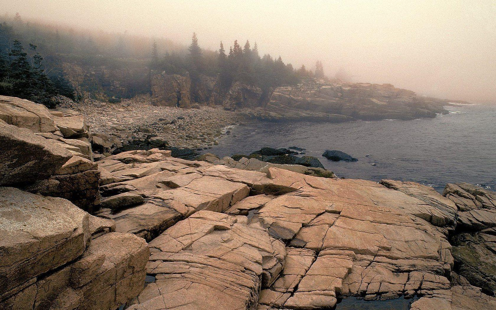 Landscapes nature Maine fog National Park Acadia wallpapers