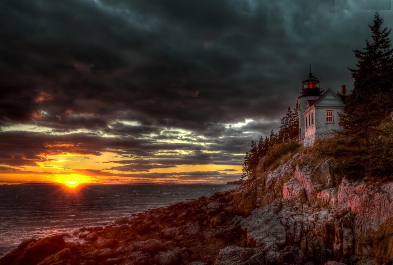 Bass Harbor Acadia National Park Sunset Clouds Cliff Fall Nature