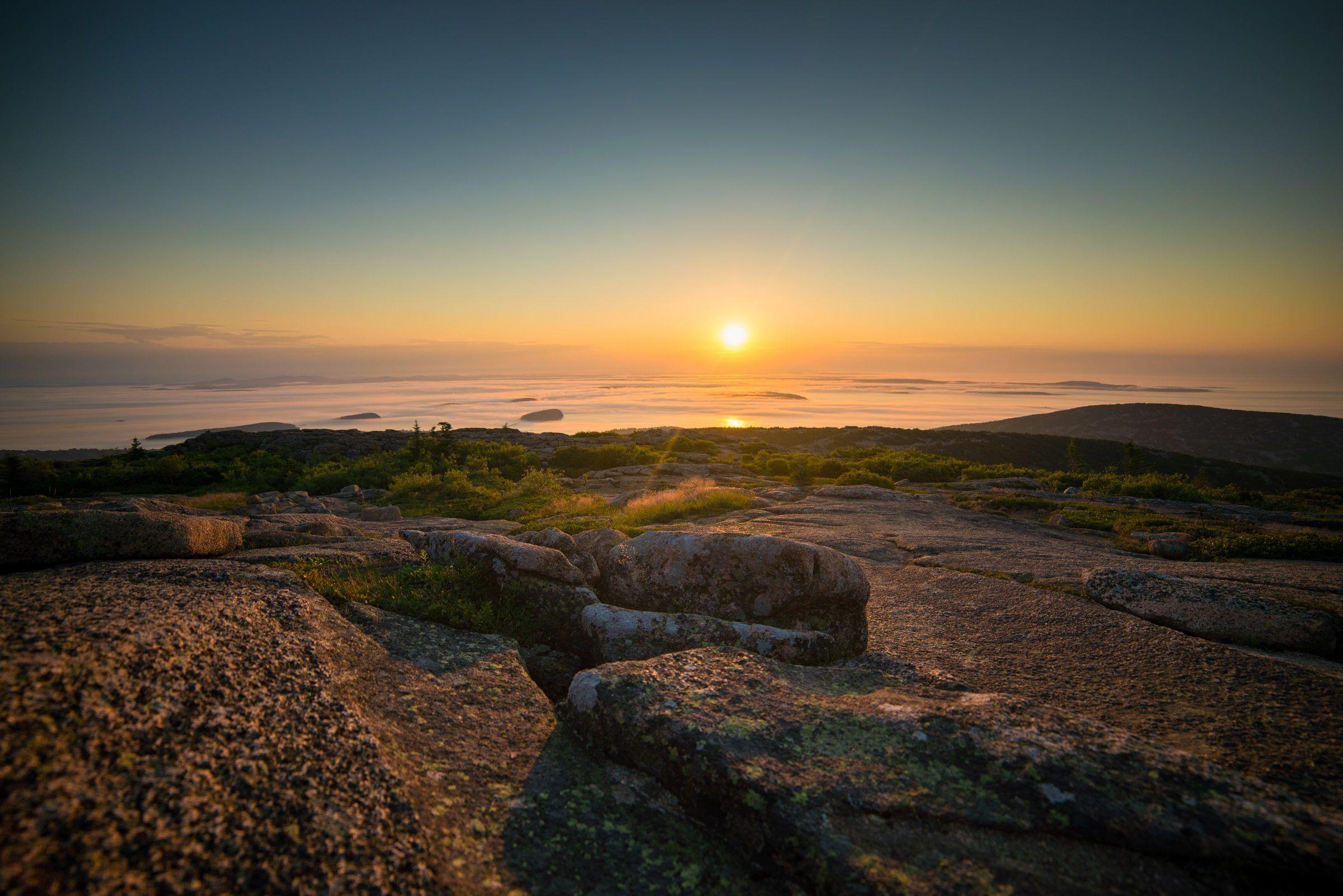 Cadillac Mountain is located on Mount Desert Island, within Acadia