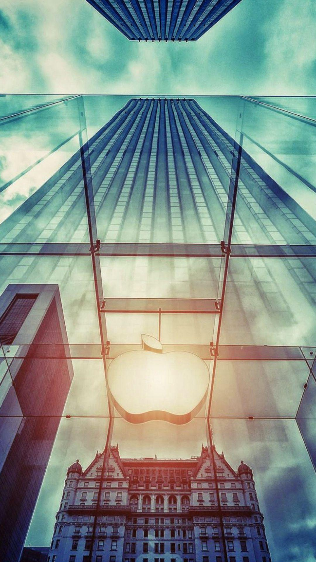 Apple Store NYC Window Reflection iPhone 7 Wallpaper Download ...