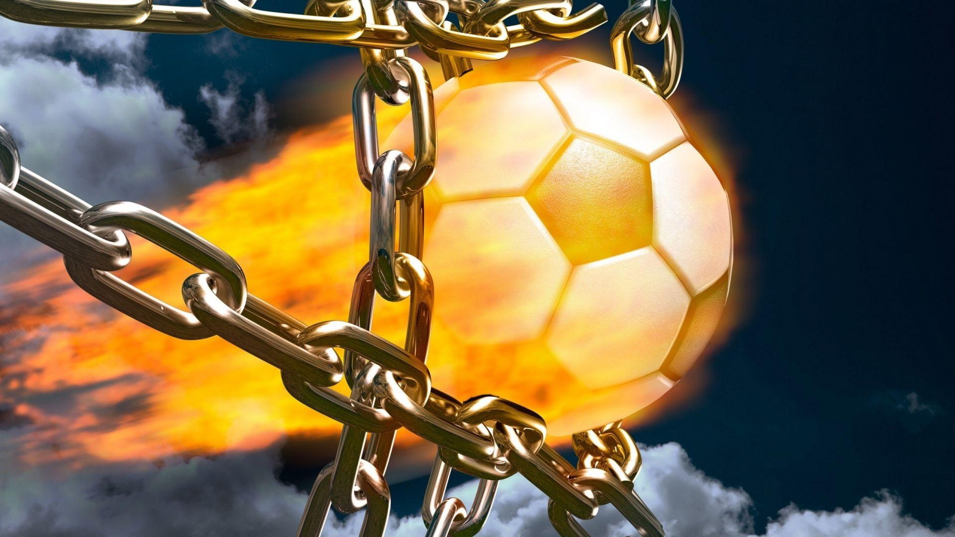Download Wallpaper 1920x1080 football, fire, ball, goal, chains ...