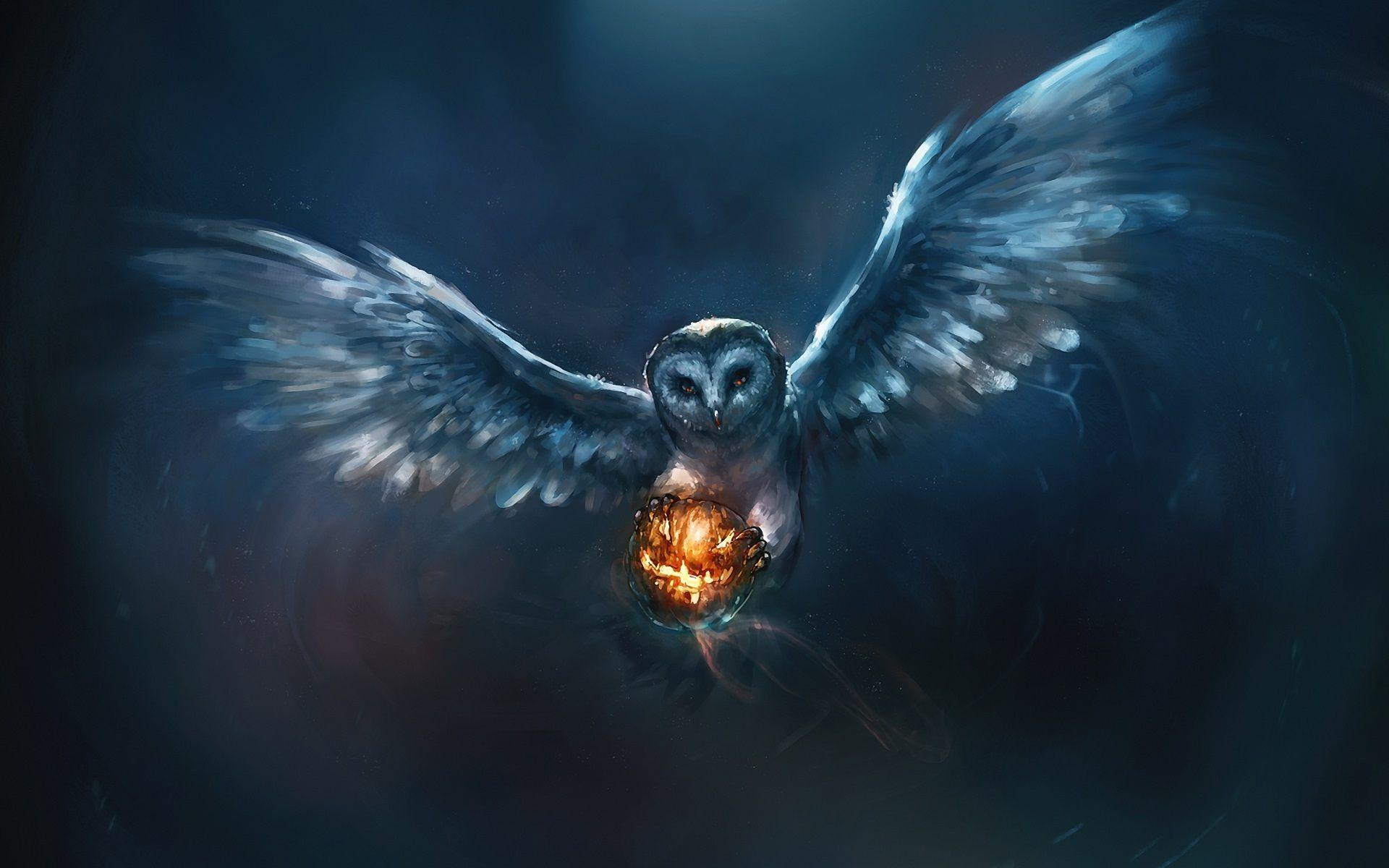 Owl Painting and Fire Ball HD Wallpaper For Desktop & Mobile