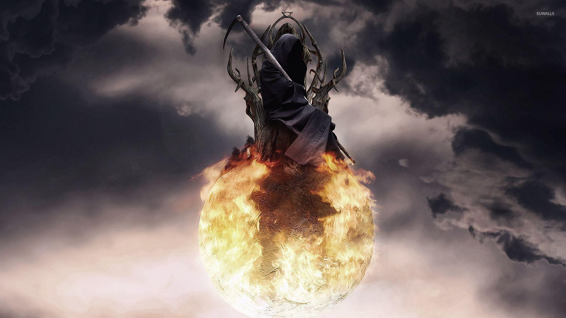 Death on a fire ball wallpaper - Fantasy wallpapers - #53106