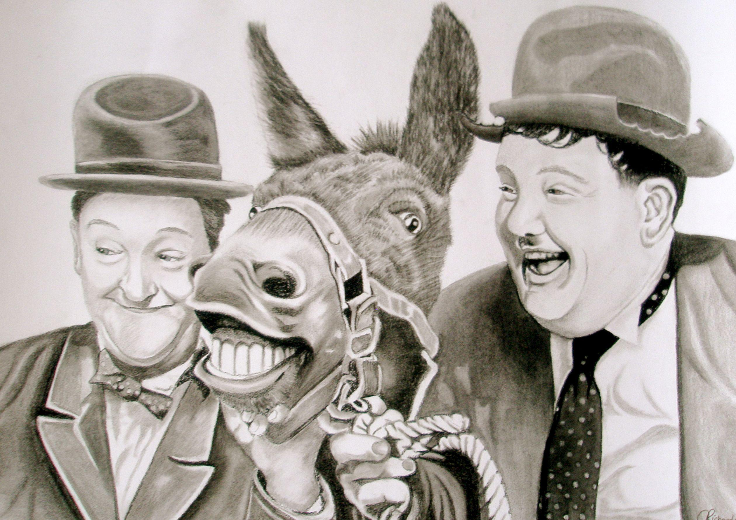 Laurel and Hardy with donkey charcoal portrait | Claire's ...