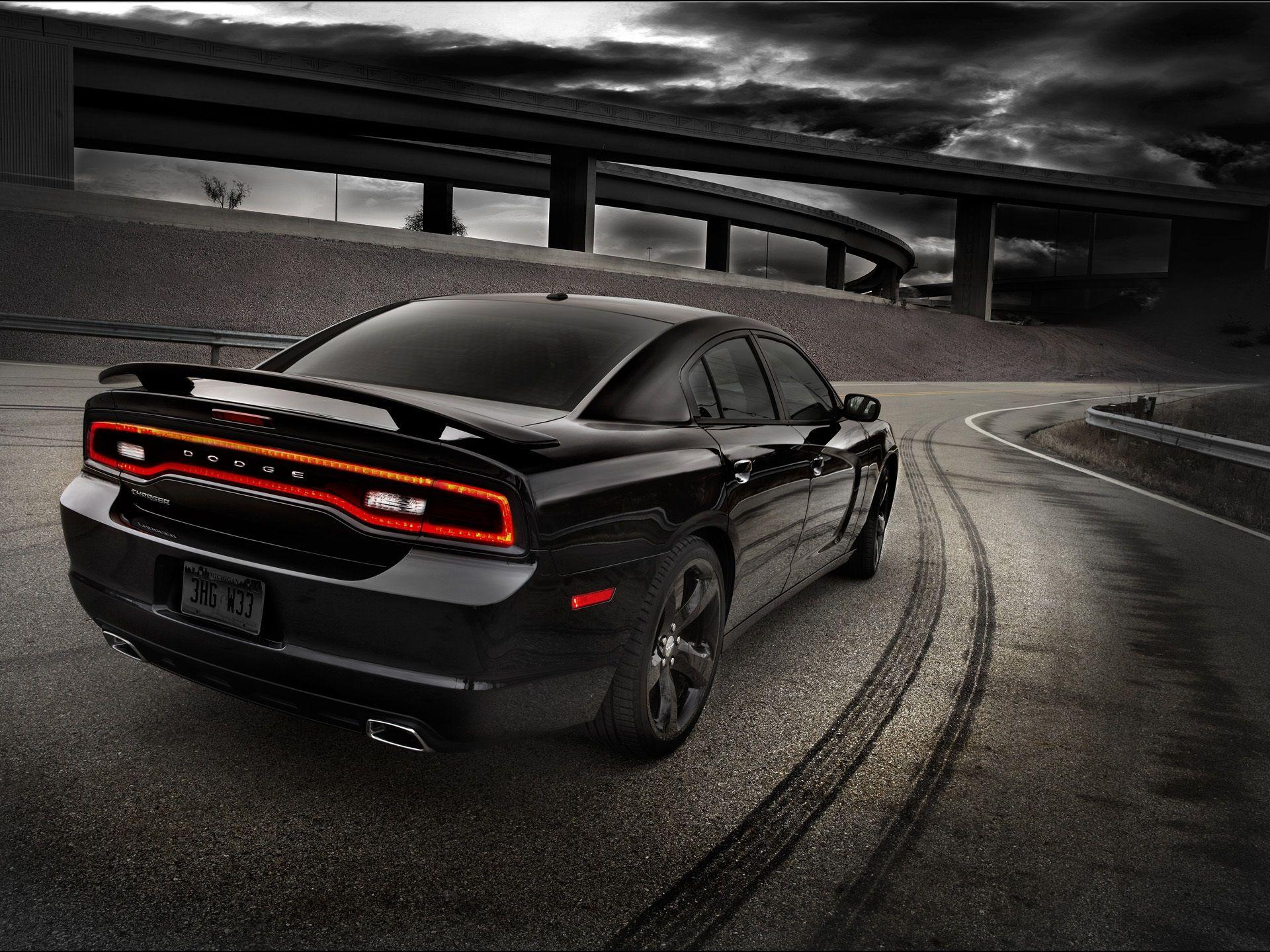 Black Dodge car rear view Full HD wallpapers