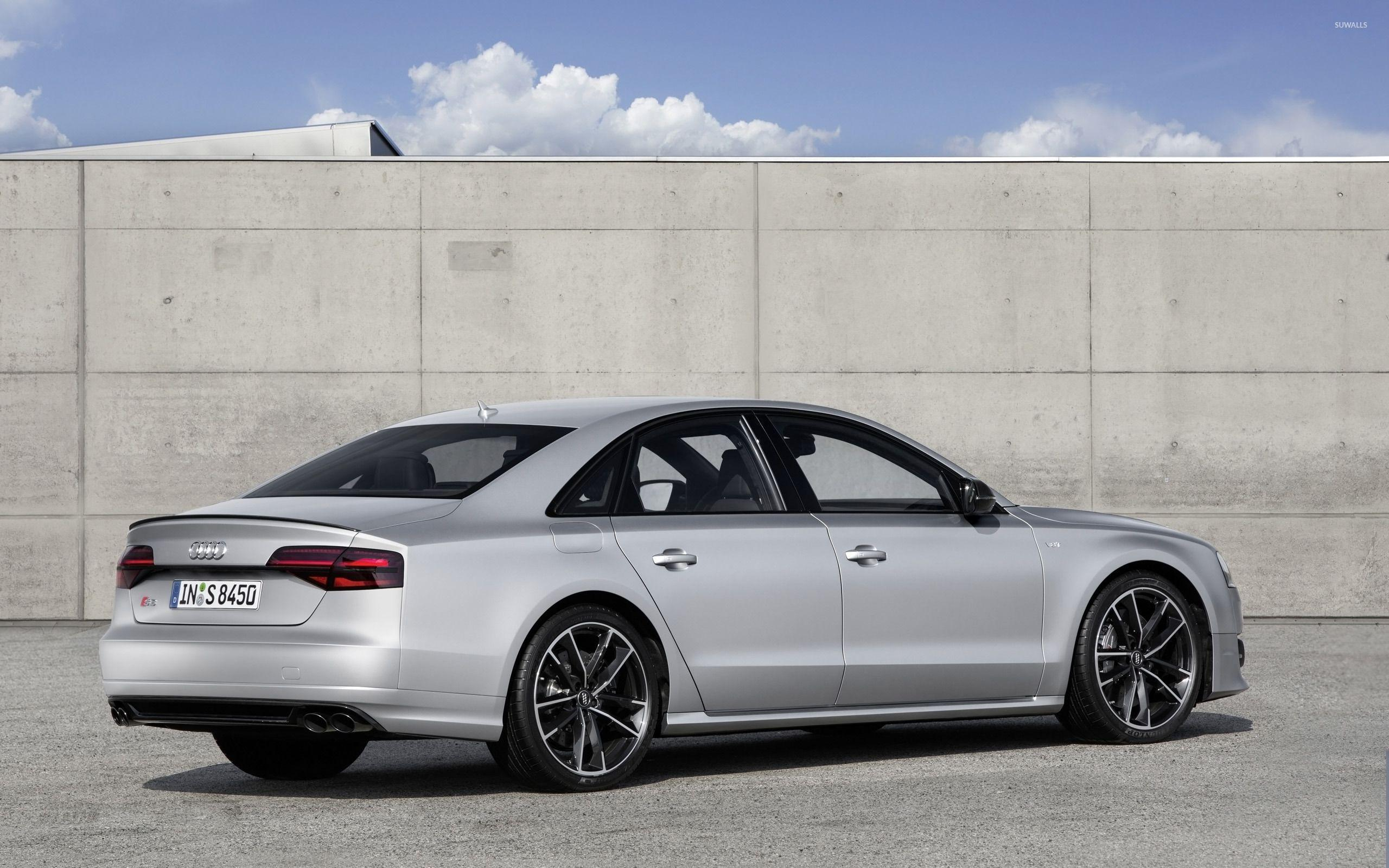 2016 Silver Audi S8 back side view wallpapers