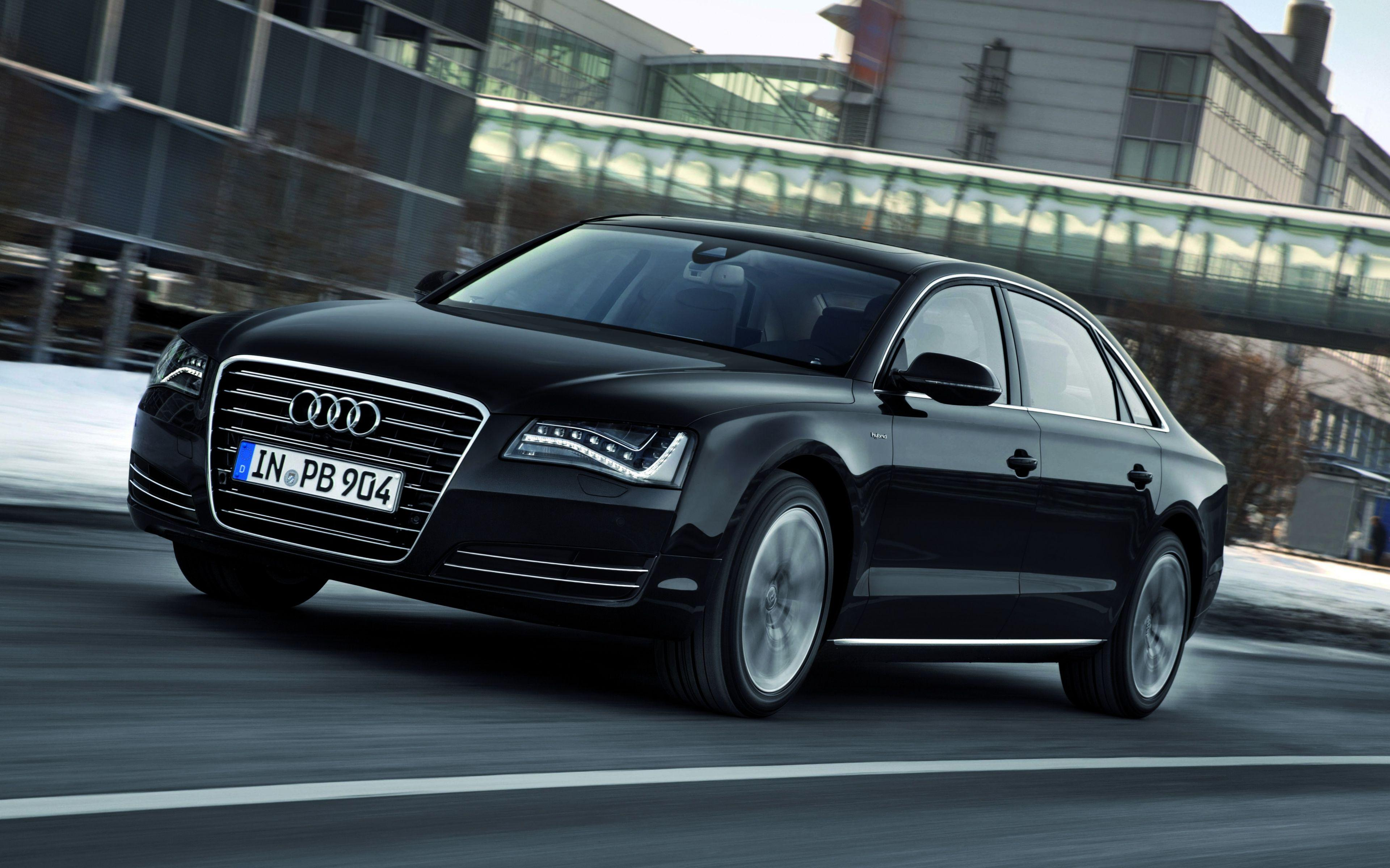 HD Backgrounds Audi A8 Black Side Front View Car Luxury Wallpapers