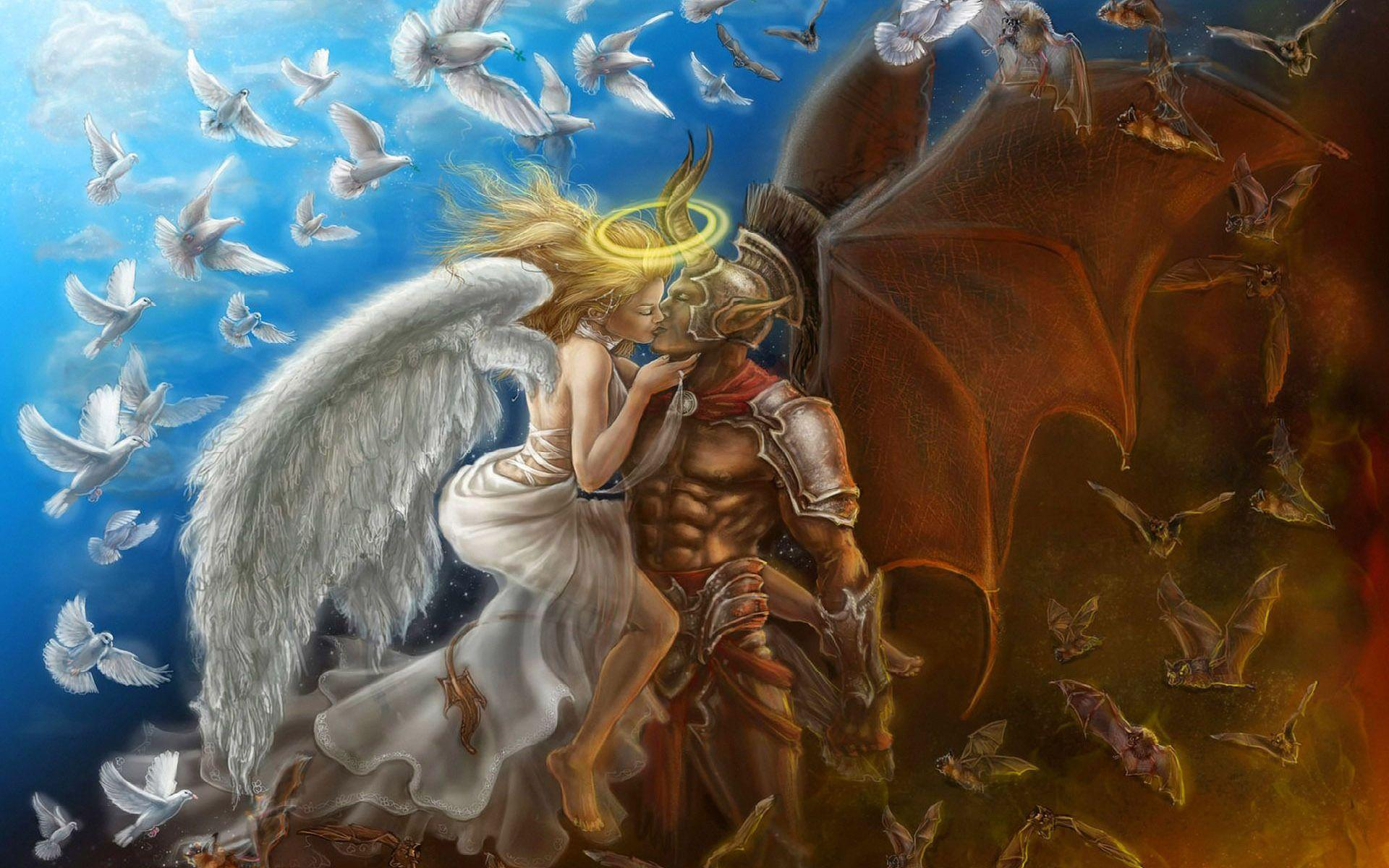 Love Between Angel And Demon Fantasy Hd Wallpapers 1920x1200 16689