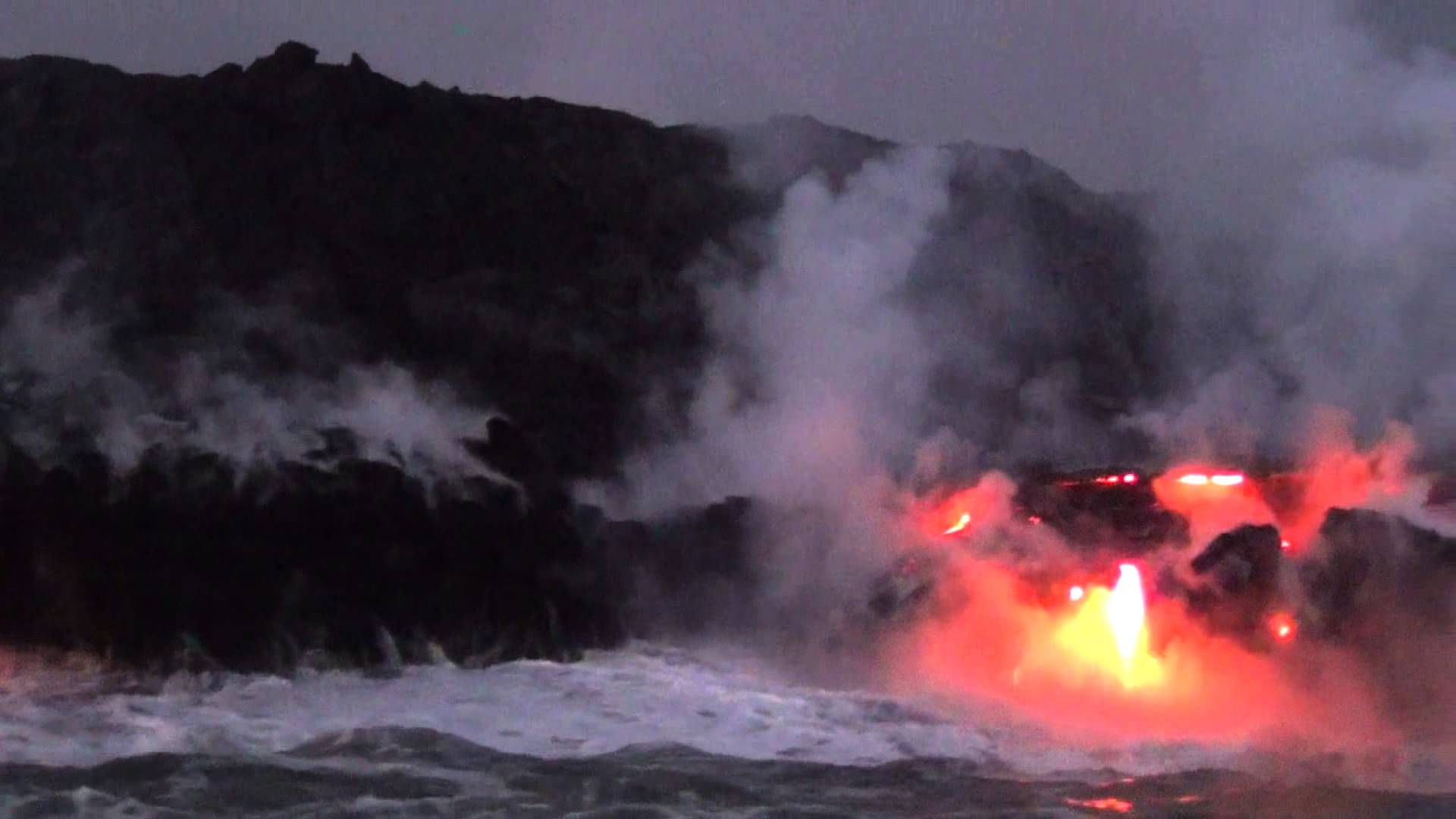 Lava meets sea in Hawai'I at the Volcanoes National Park