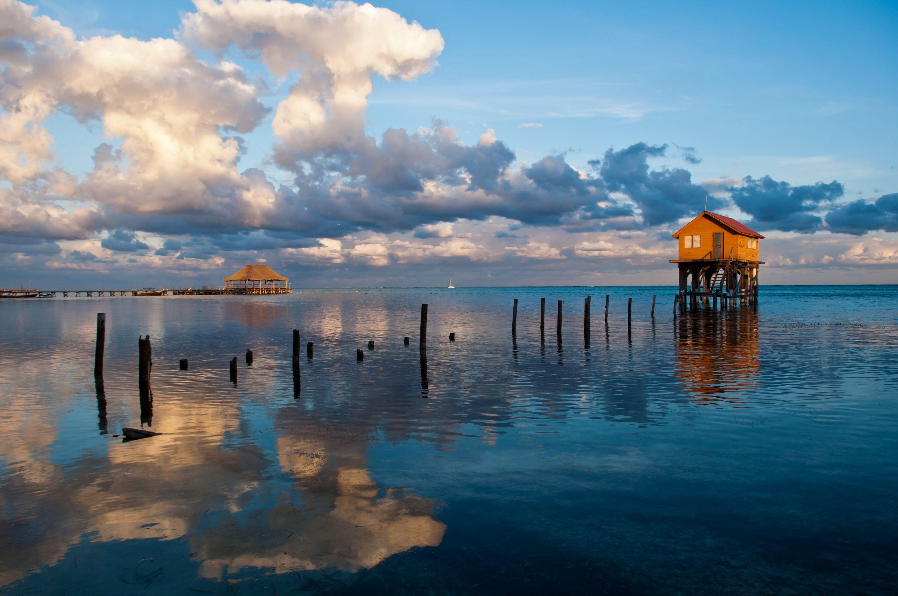 Belize, beach, house, reflections, tropical, beautiful, sea